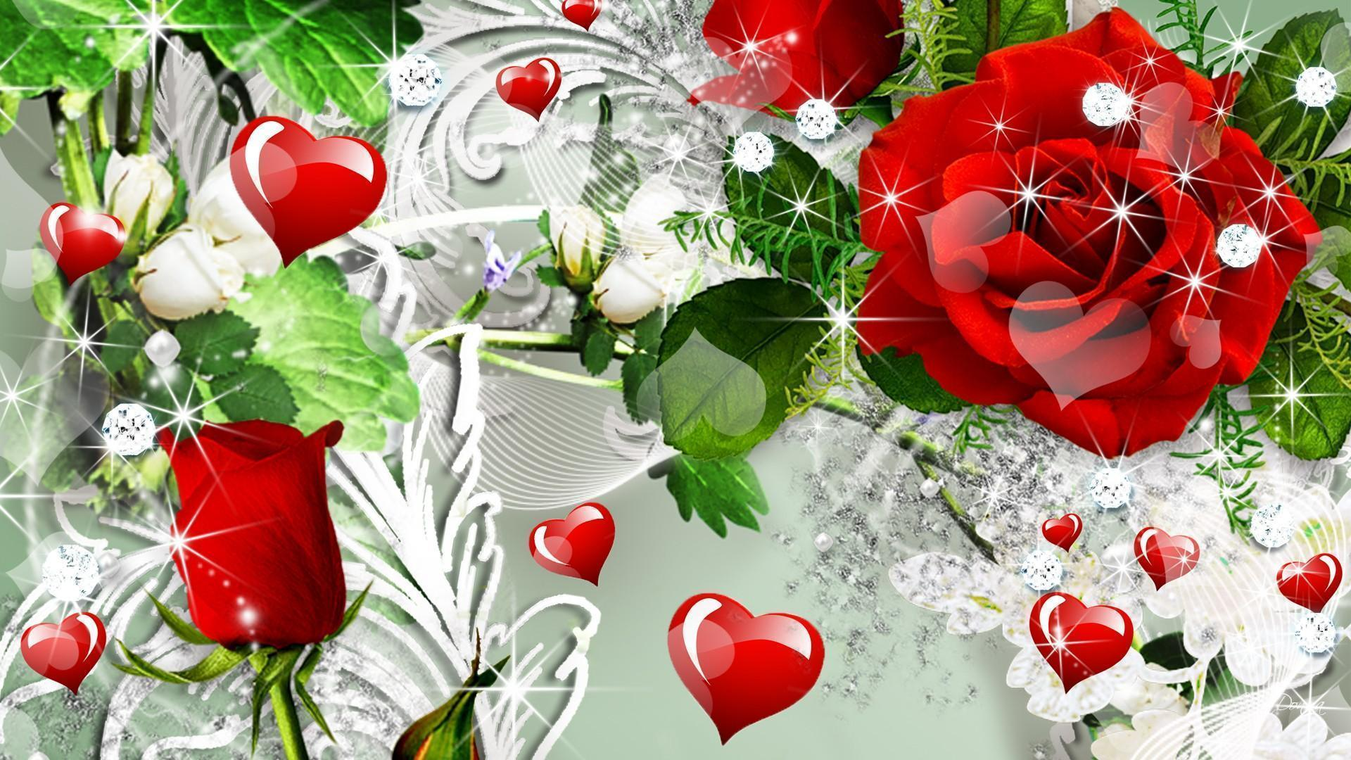 Wallpapers For > Red Rose Heart Backgrounds