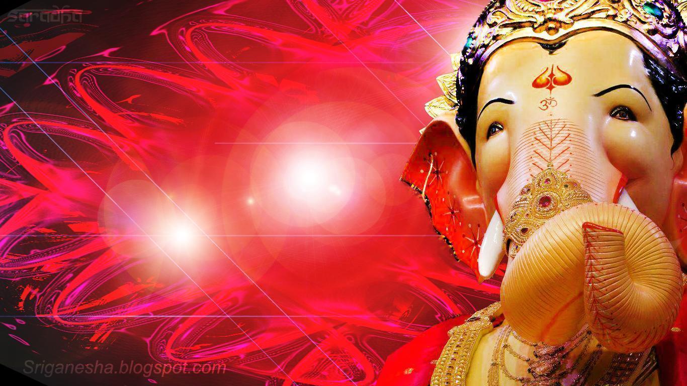 Hd wallpaper ganpati - Sri Ganesha Ganapati Ganesh In Red Light Background Wallpaper