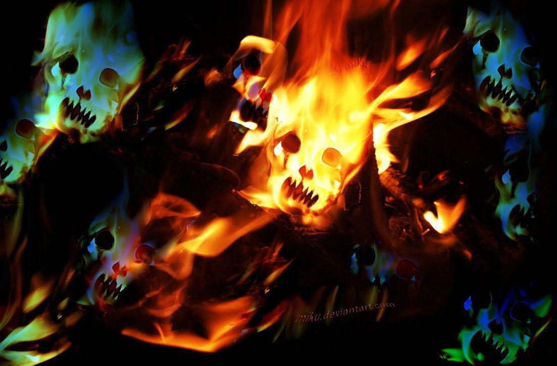 Wallpapers For > Fire Skull Wallpapers For Desktop