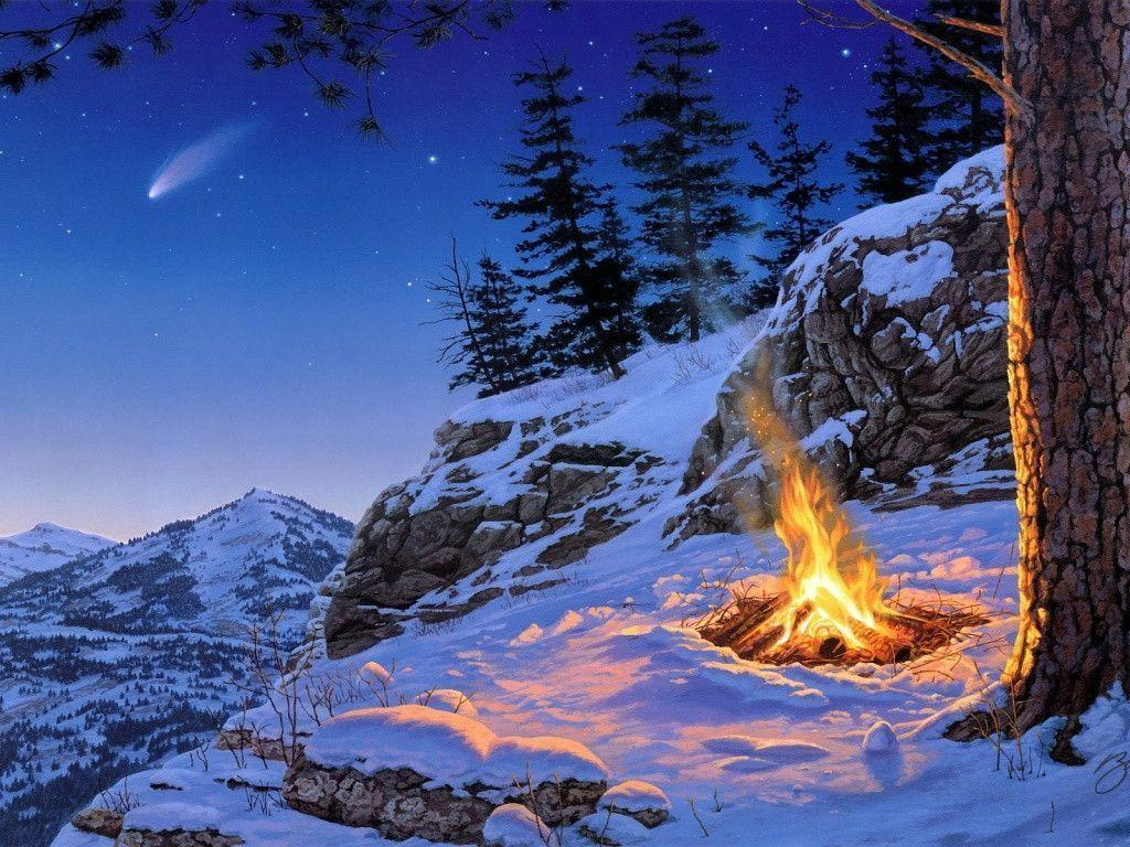 1024x768 Winter campfire art Wallpapers