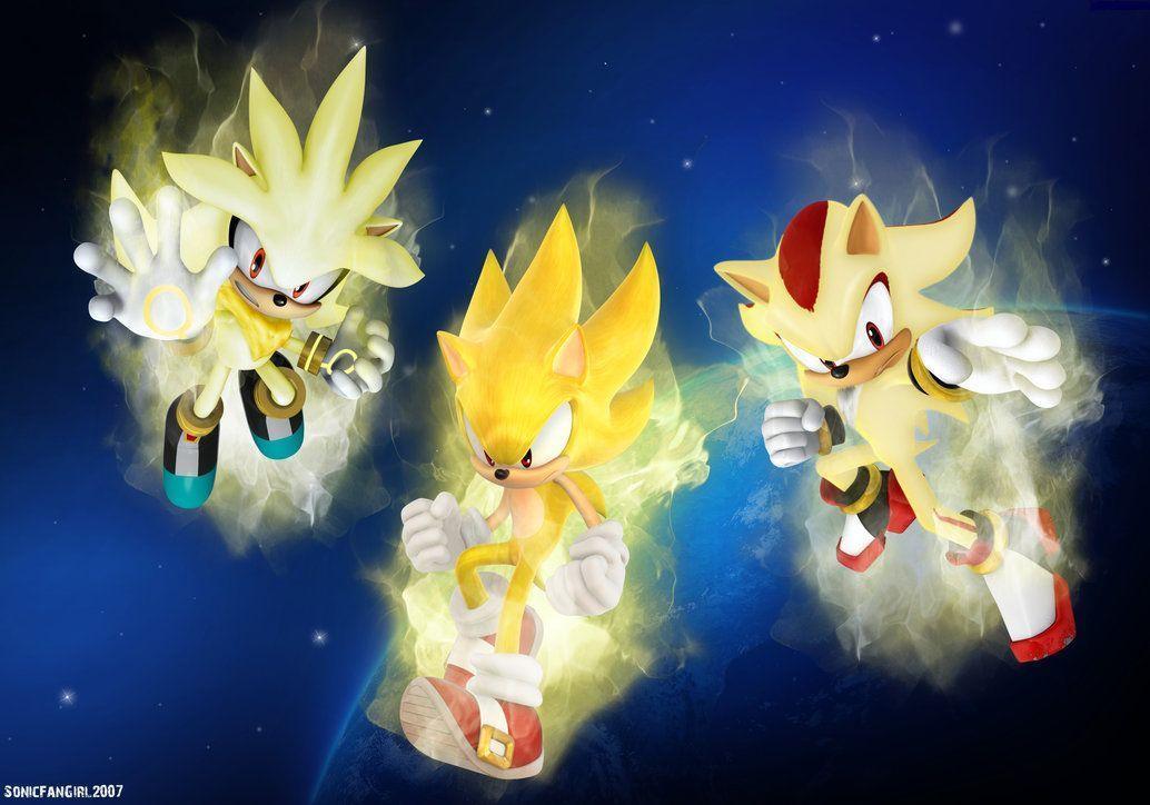 Super Sonic Wallpapers - Wallpaper Cave |Super Sonic And Super Shadow And Super Silver Wallpaper