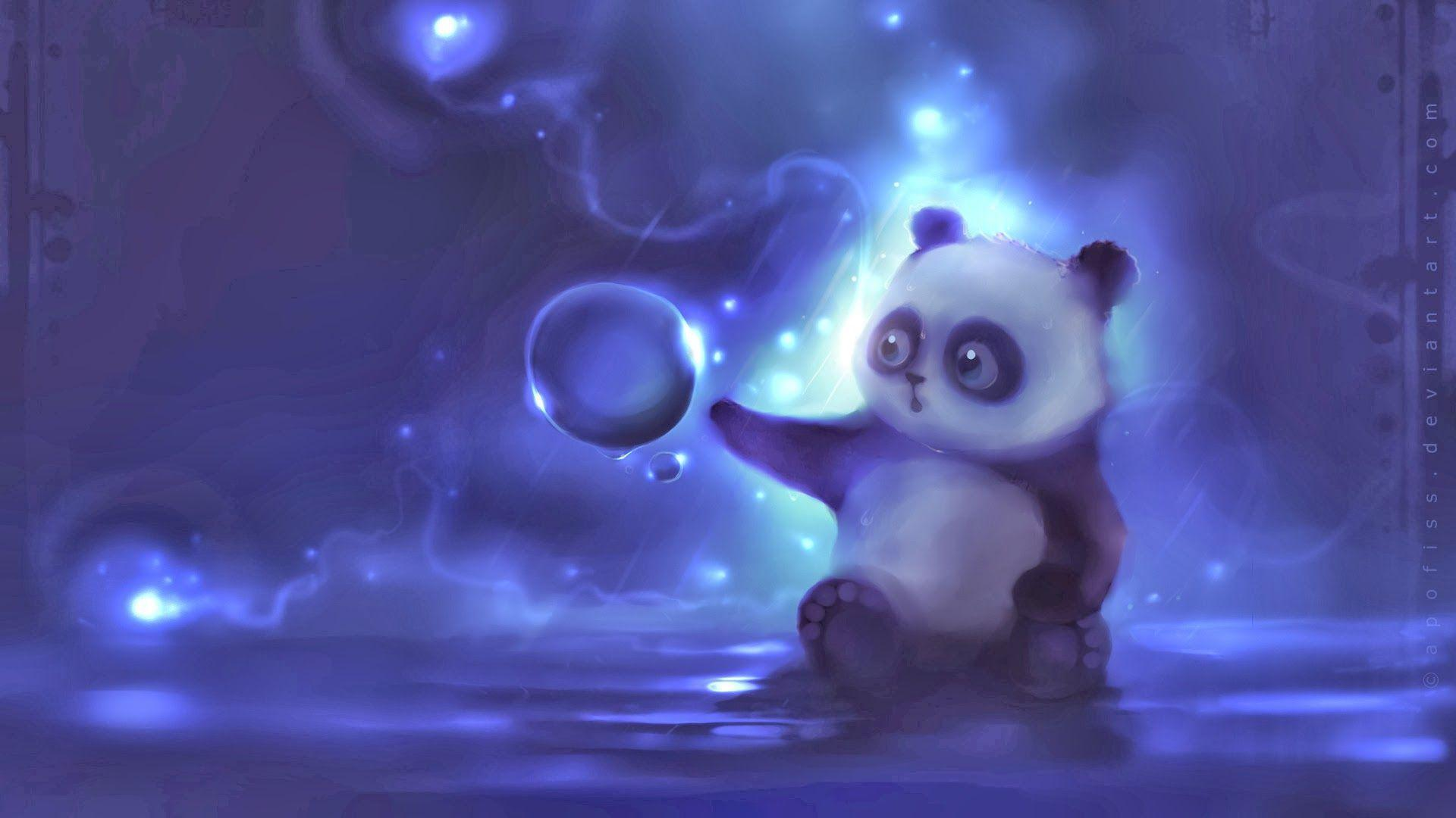 cute panda painting wallpaper - photo #17