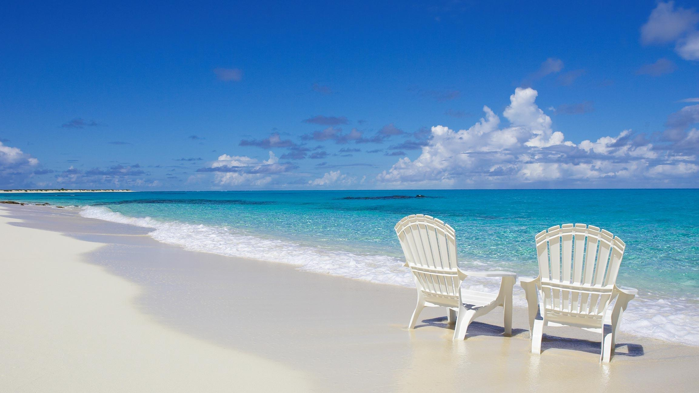 2 beach chairs on the beach - Beach Chair Wallpaper