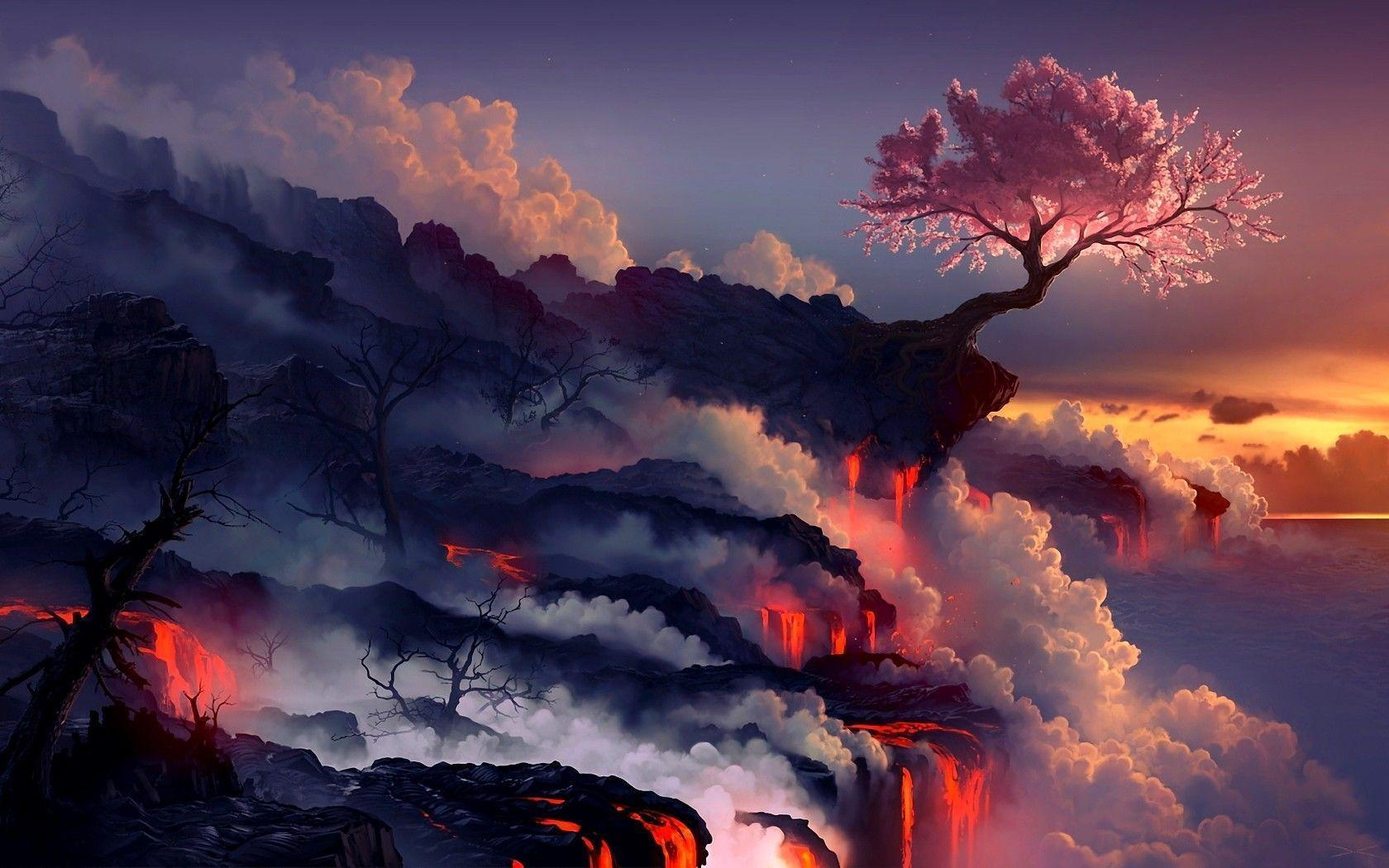 trippy landscape wallpapers