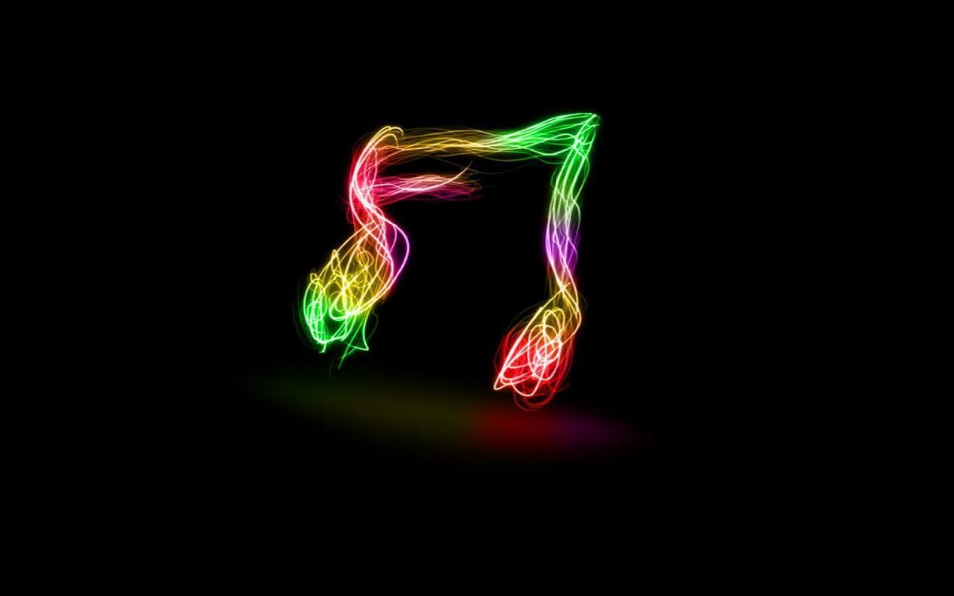 Neon Music Notes Background: Neon Backgrounds
