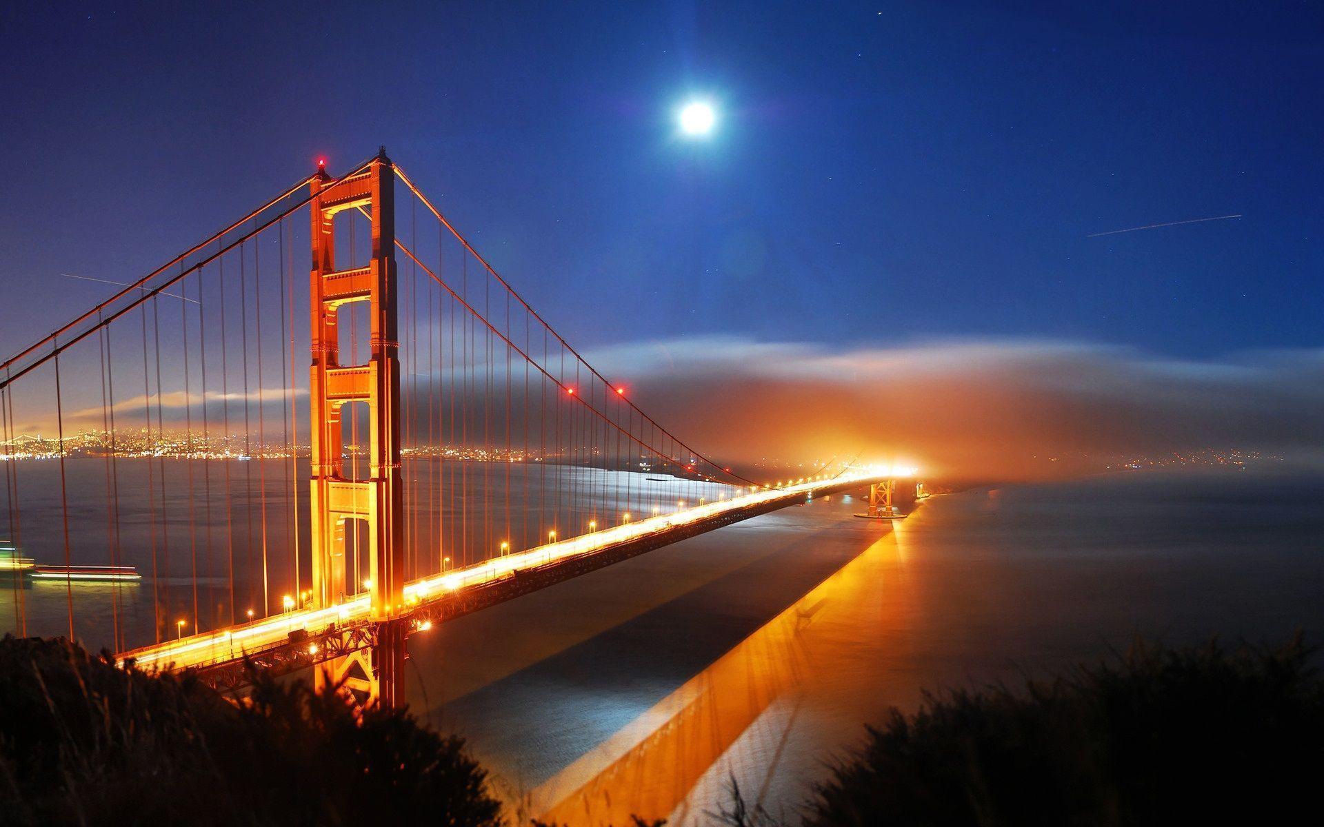 San Francisco Bridge Night Lights Hd Wallpaper « Travel & World ...