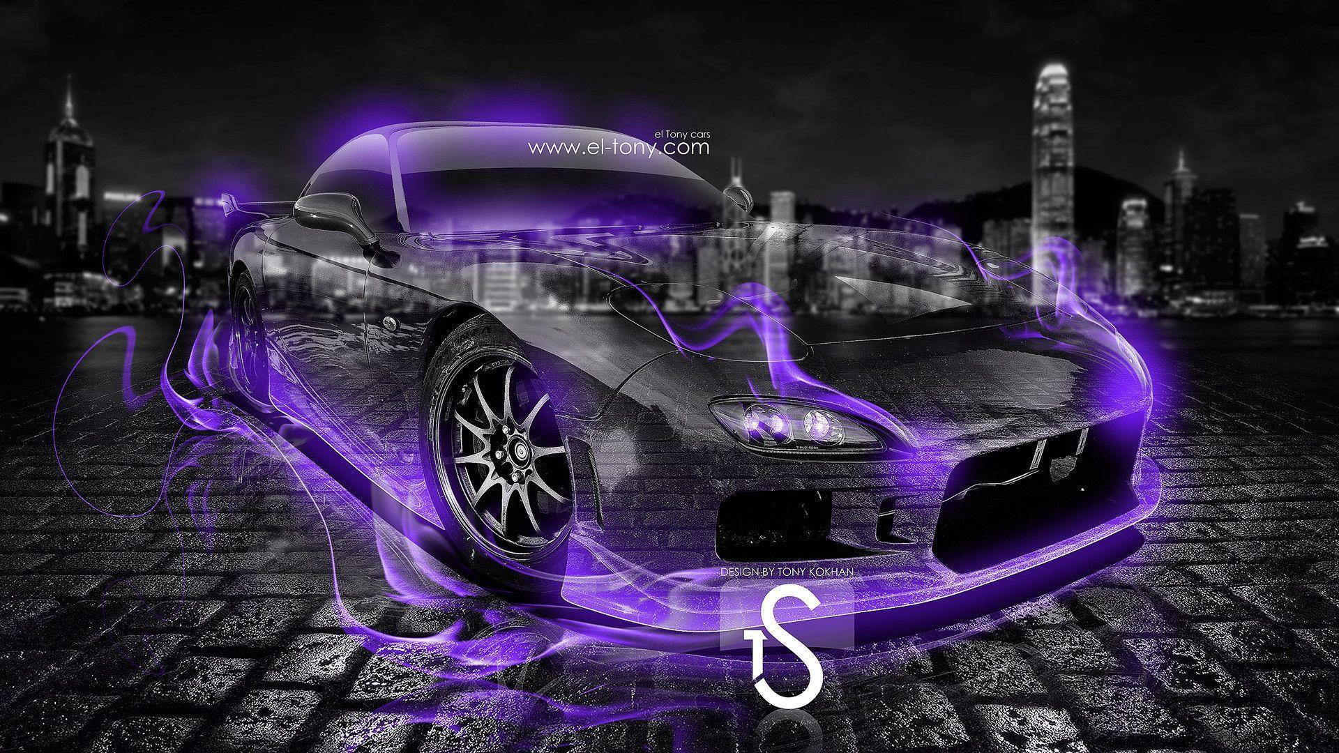 Mazda Rx7 Jdm Side Crystal City Car 2014 Violet Neon Hd Wallpapers