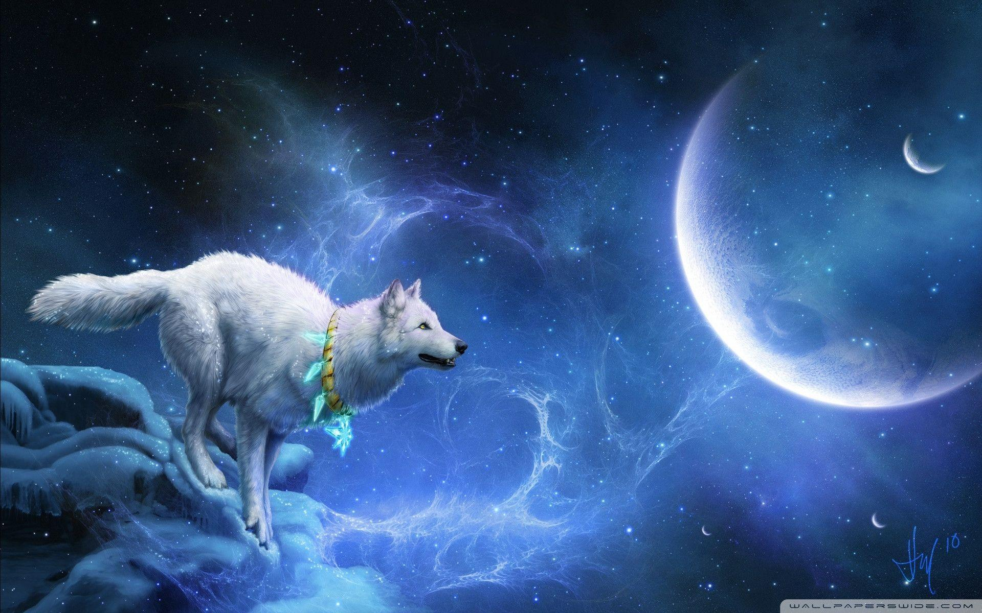 Wallpapers For > Blue Flame Wolf Wallpapers