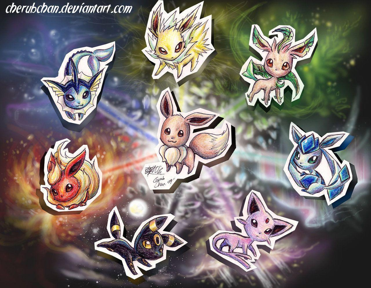 EEVEE&EVOLUTIONZ by chaoslavawolf