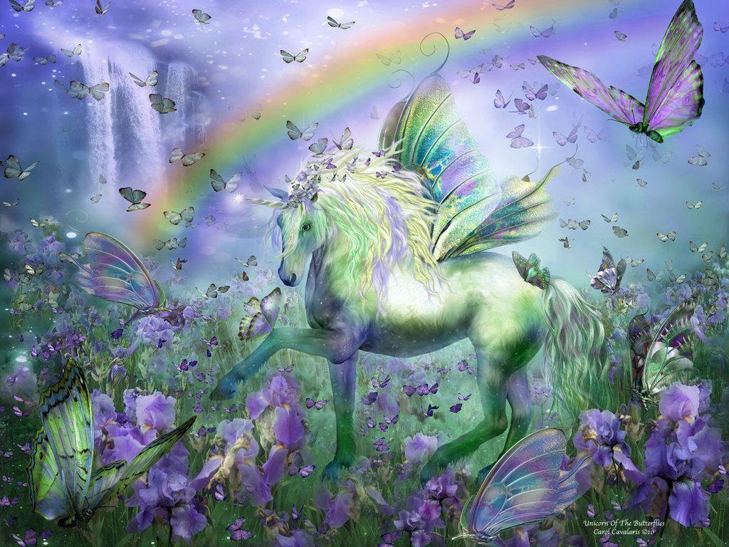 Unicorn With Wings And Rainbow Unicorn Backgro...