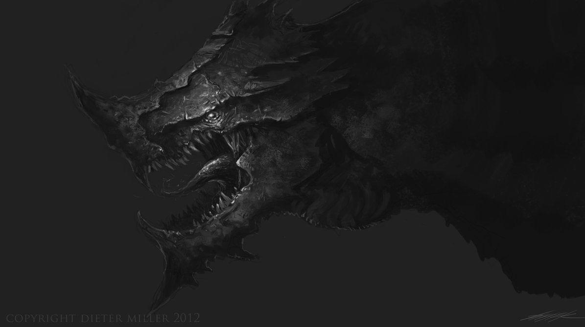 Image For > Realistic Dragon Head