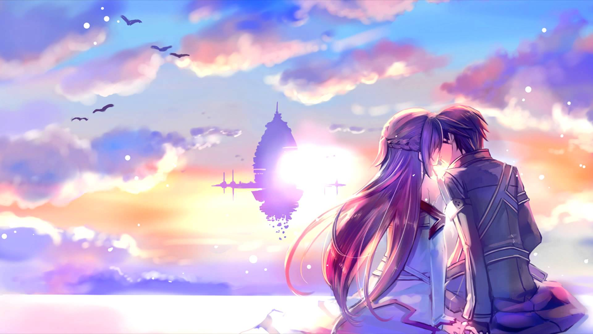 Romantic Asuna And Kirito Sword Art Online Wallpaper