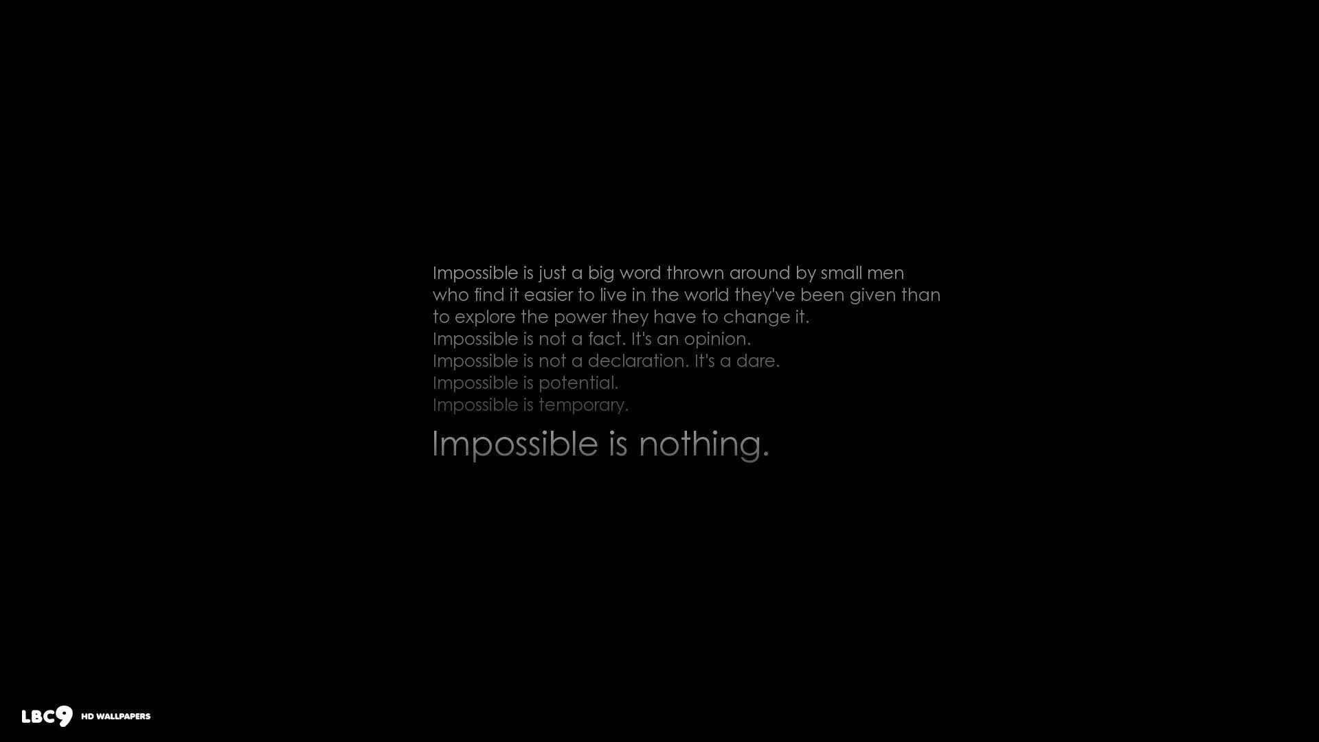 nothing is impossible wallpaper 5/9 | typography hd backgrounds