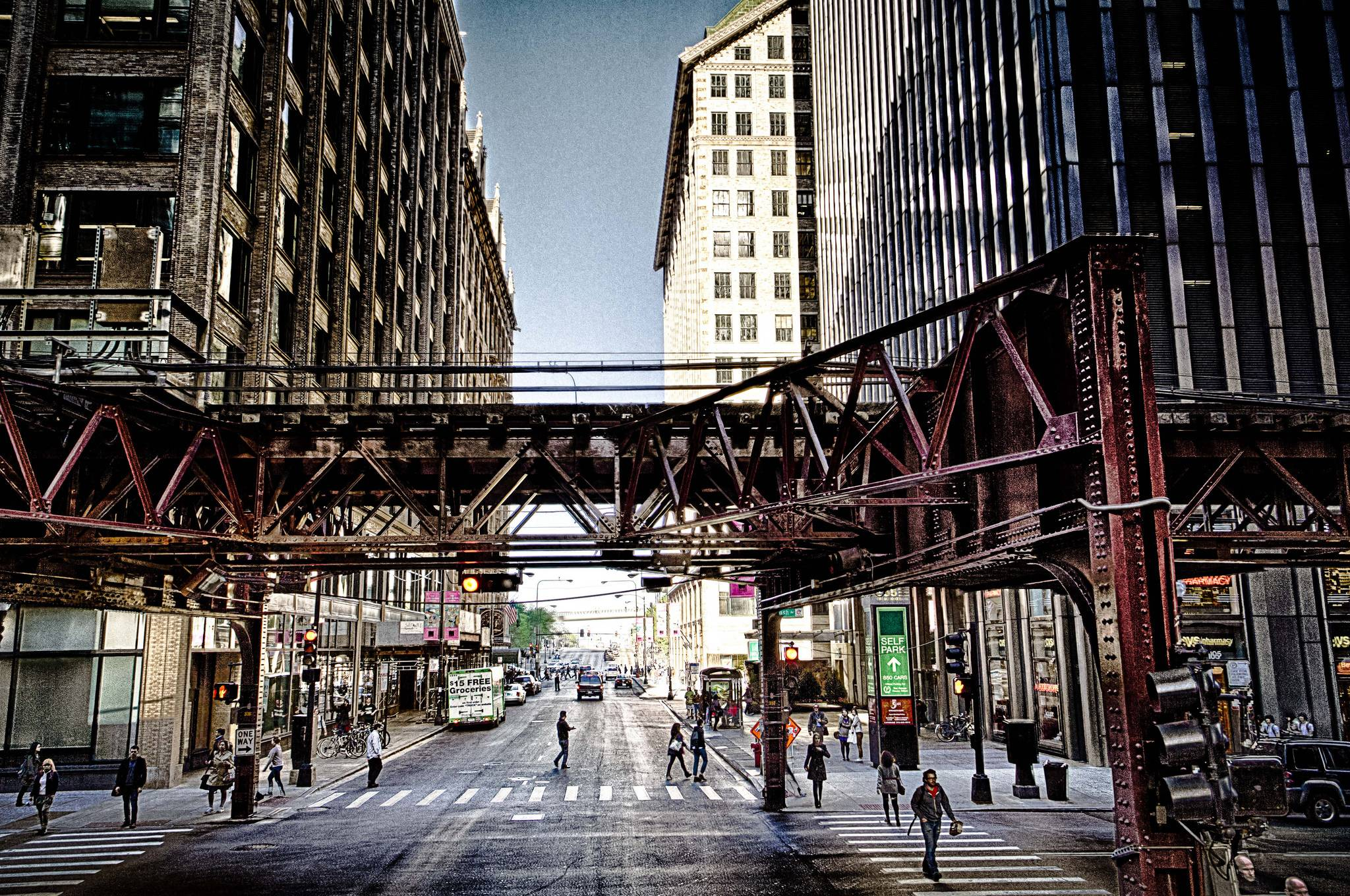 Roads Houses People Chicago city Street Cities wallpapers