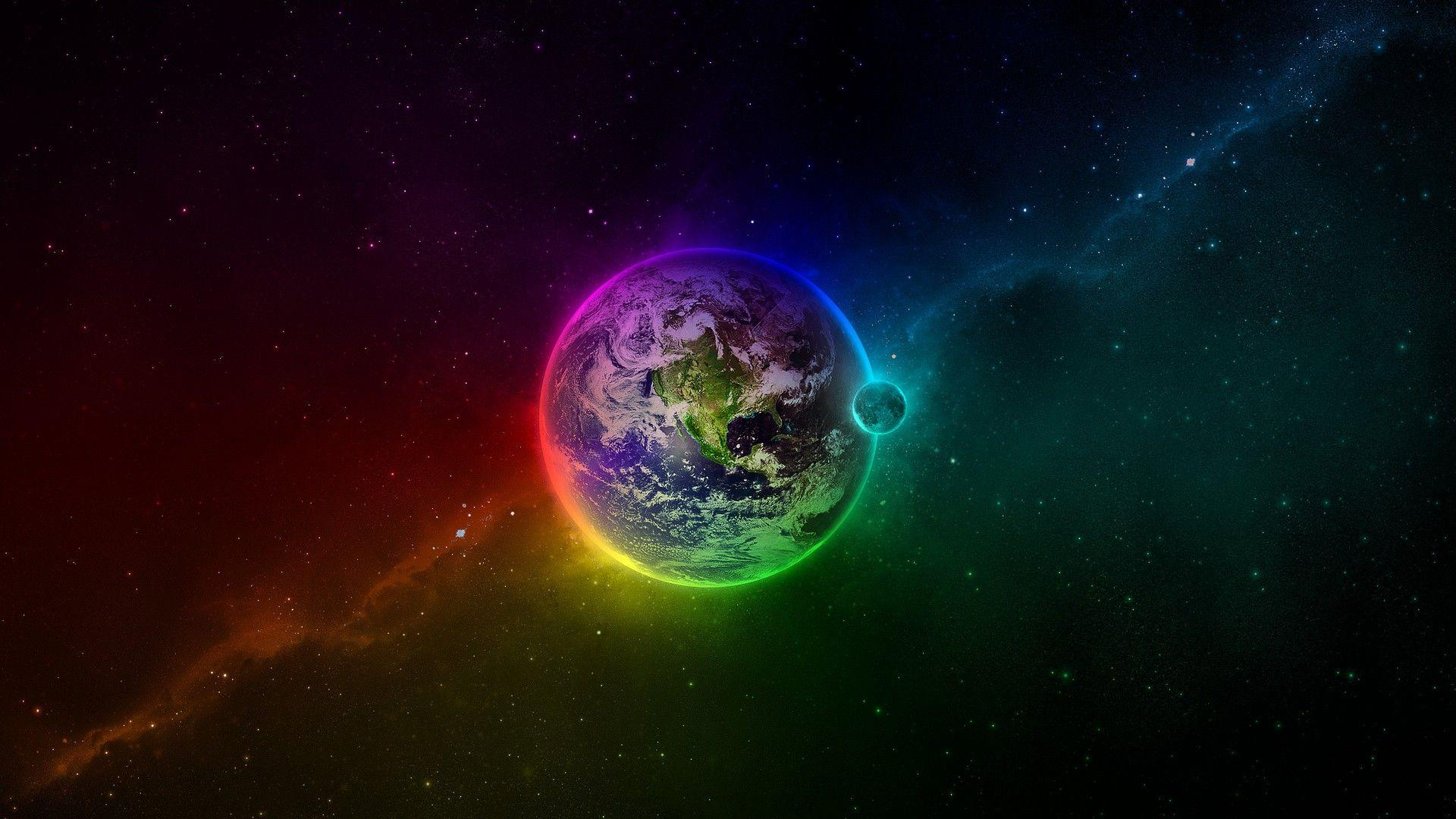 colorful earth space background hd wallpaper