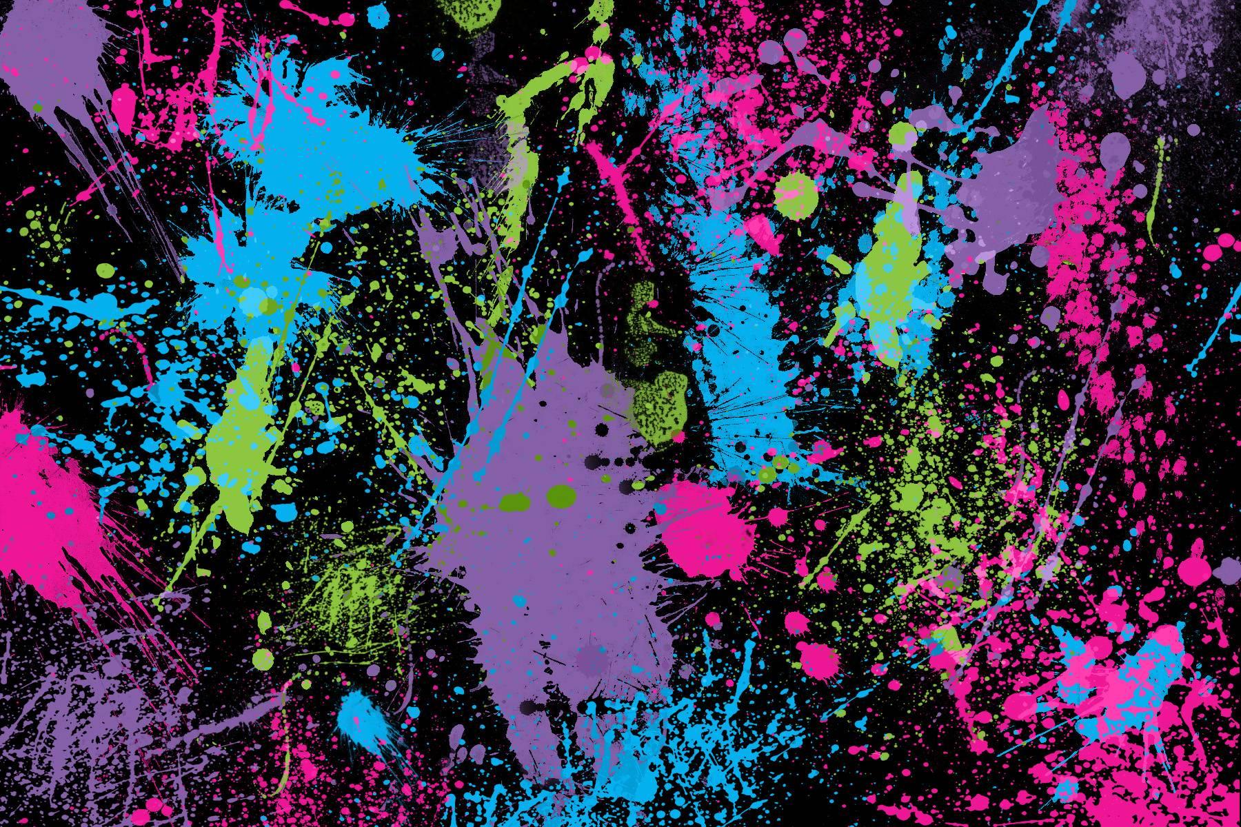 Glowing Neon Paint Splatter Backgrounds - Tera Wallpaper