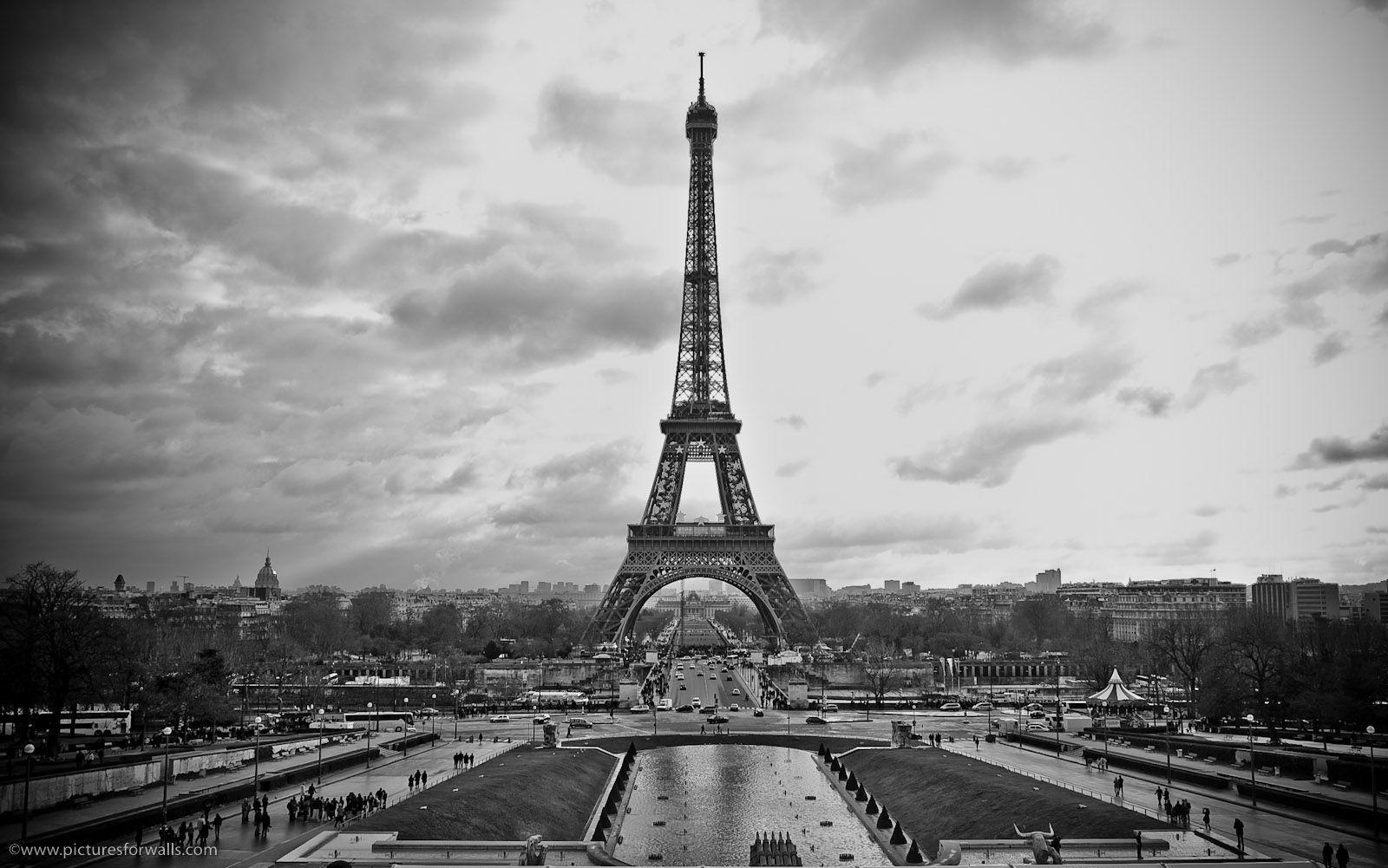 Paris desktop wallpapers wallpaper cave for Eiffel tower wall mural black and white