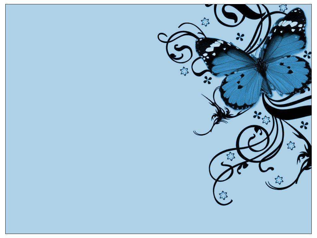 Blue butterfly wallpapers wallpaper cave for Butterfly wallpaper border