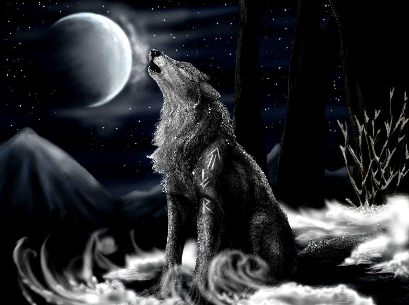Wallpapers For > Wolf Moon Wallpapers 3d