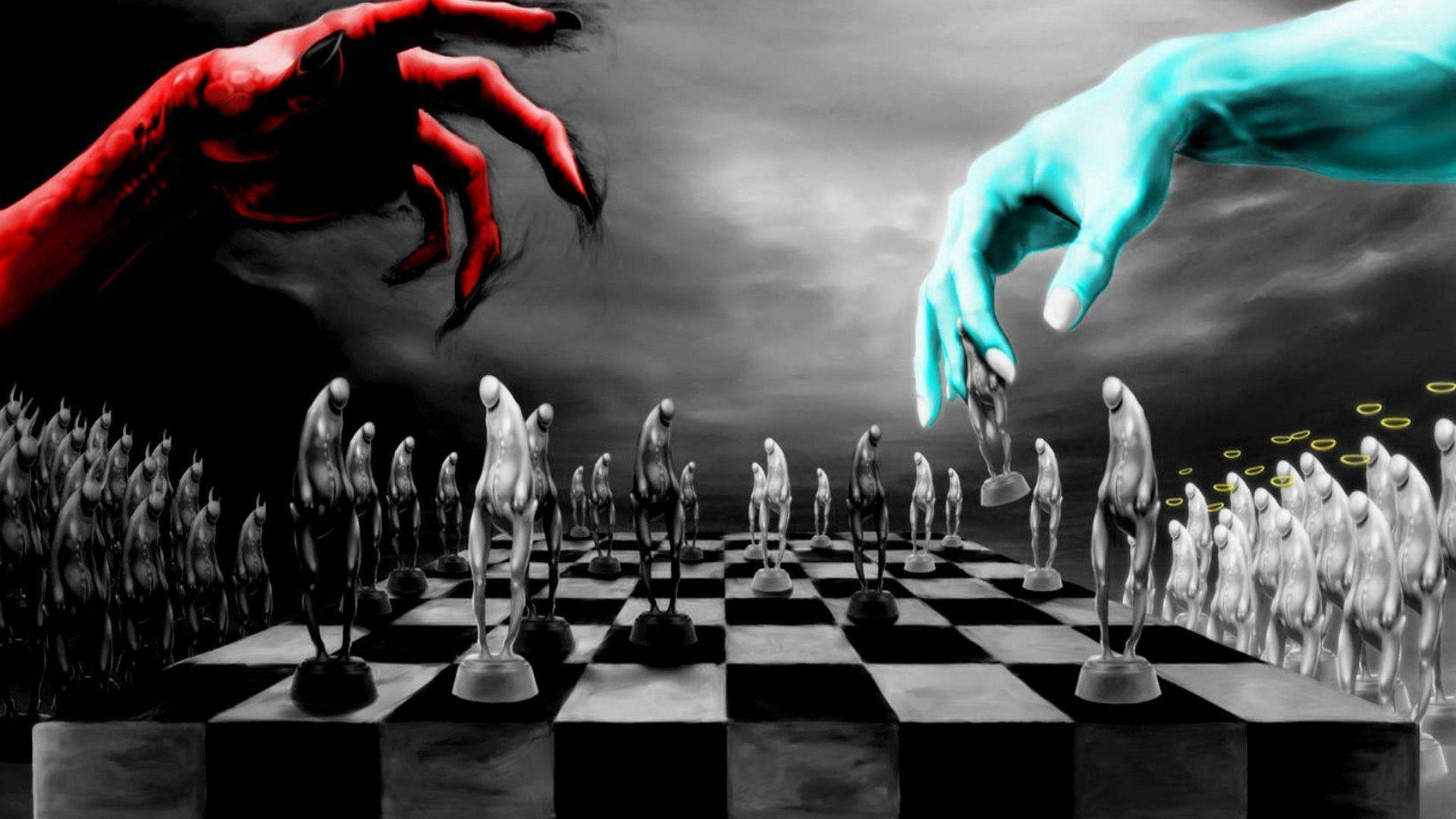 God Vs Devill Playing Chess HD Wallpapers 1920x1080
