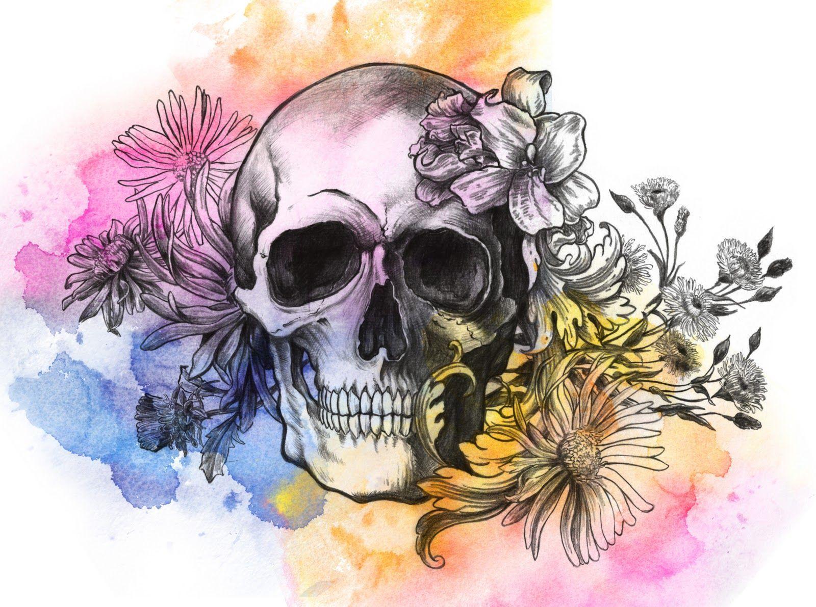 Flower Skull Bed Set