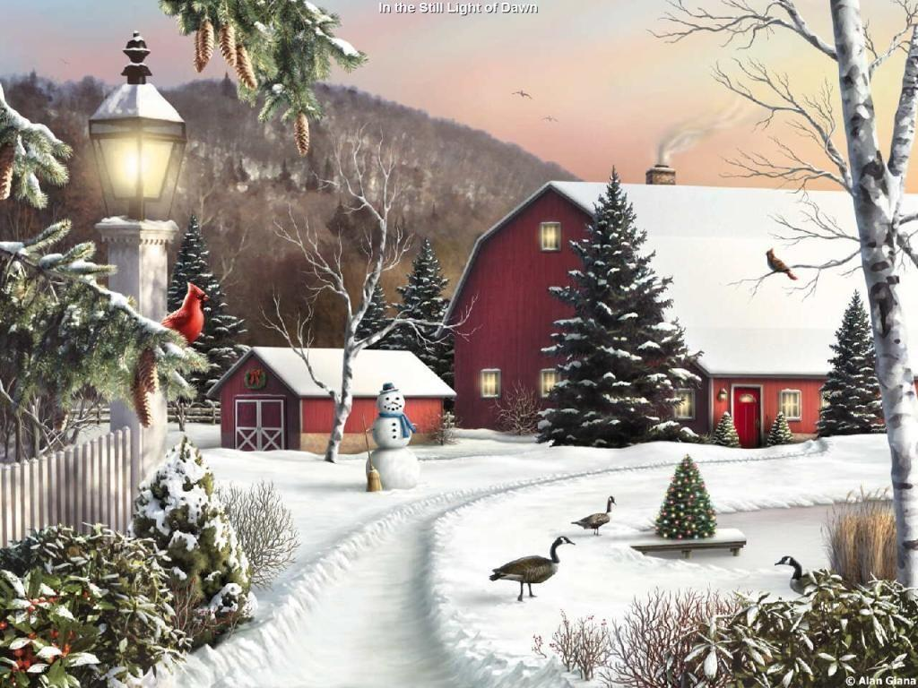 Thomas kinkade winter wallpapers wallpaper cave for Christmas pictures for facebook wall