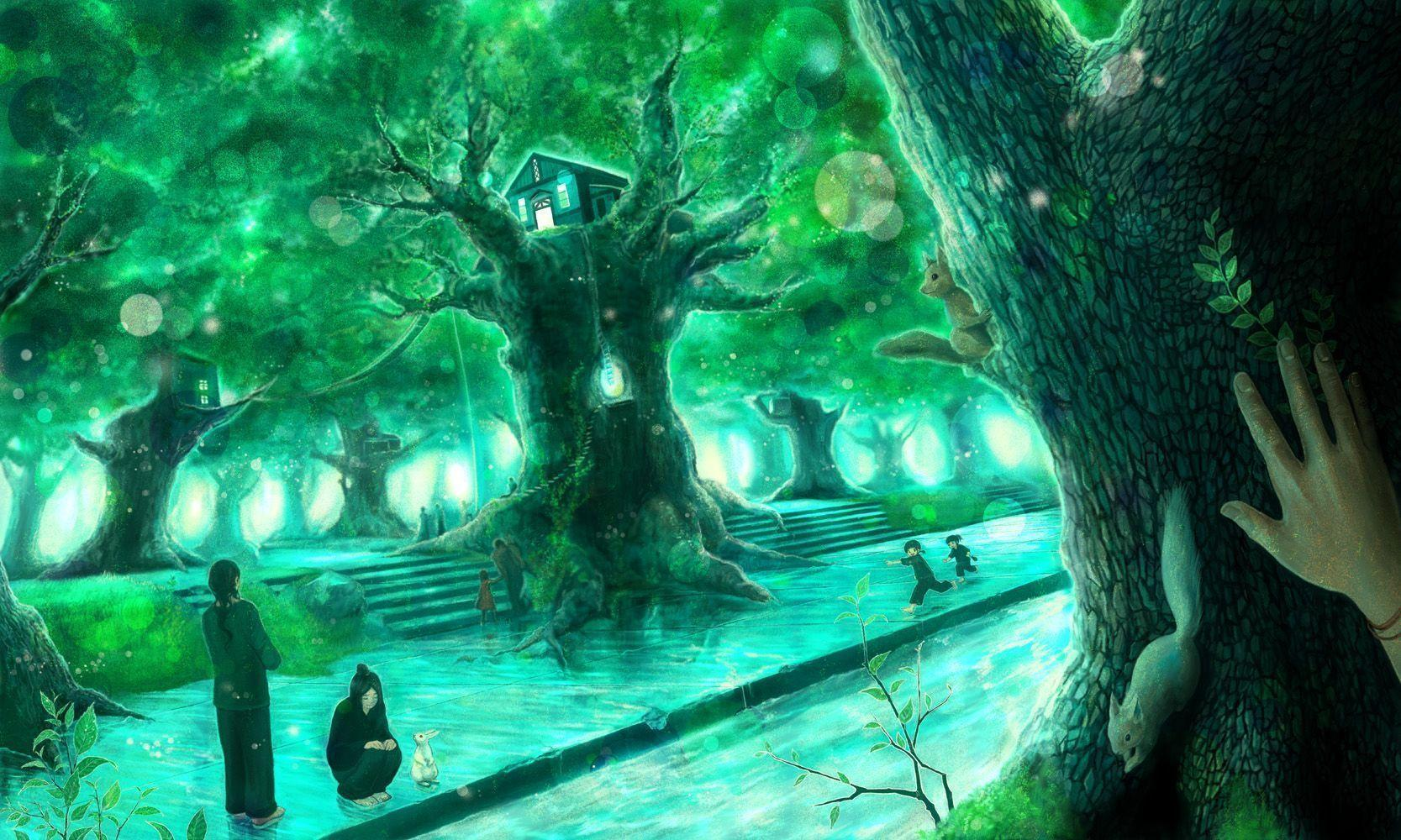 Download Anime Forest Wallpaper 1667x1000 | Wallpoper #176751