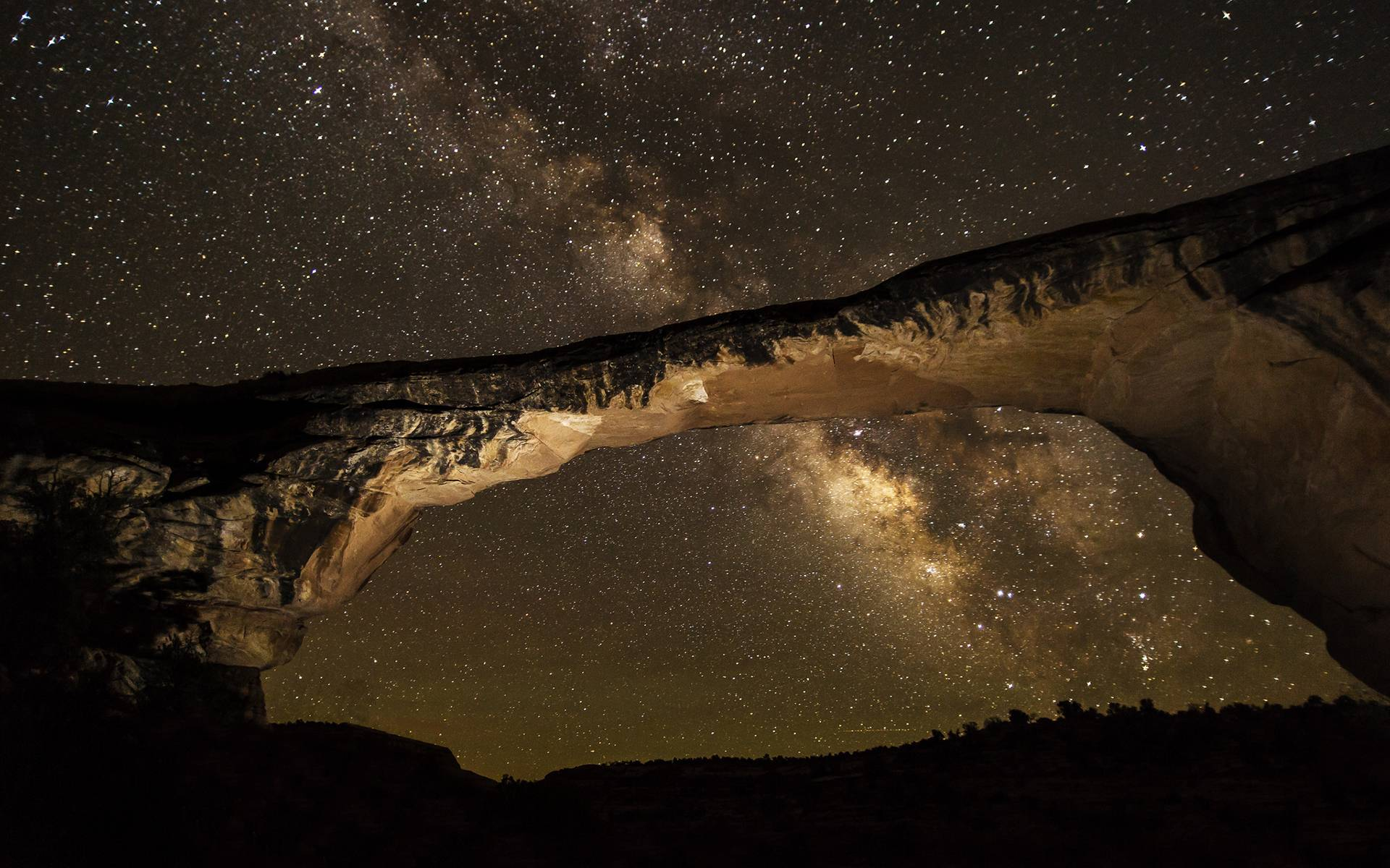 Milky Way Galaxy Stars Arch Night Rock Stone sky space wallpaper ...