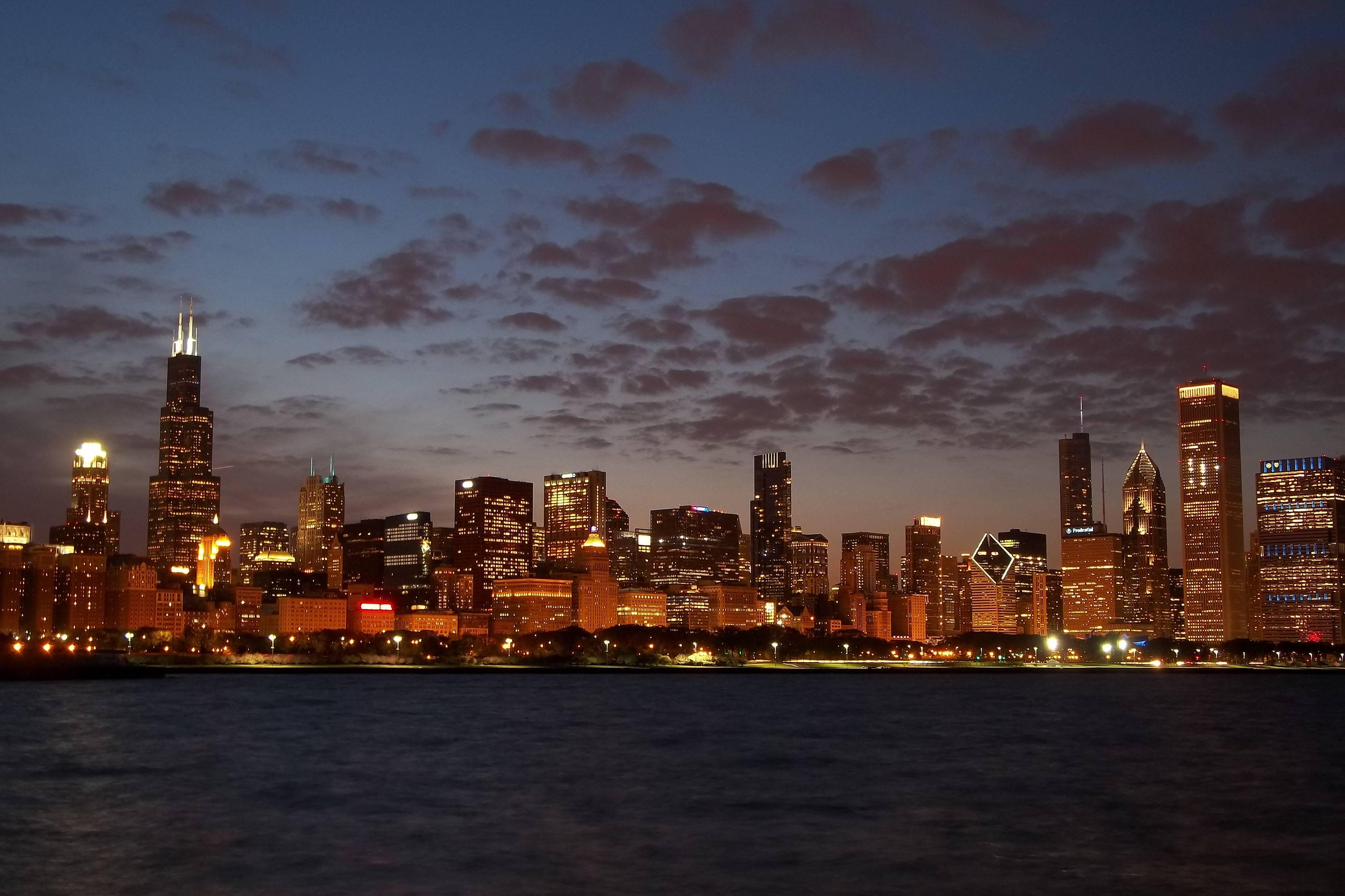 chicago night skyline wallpaper - photo #3