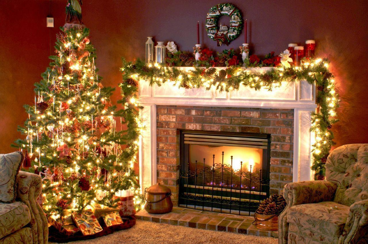 Christmas Fireplace Scene Wallpapers