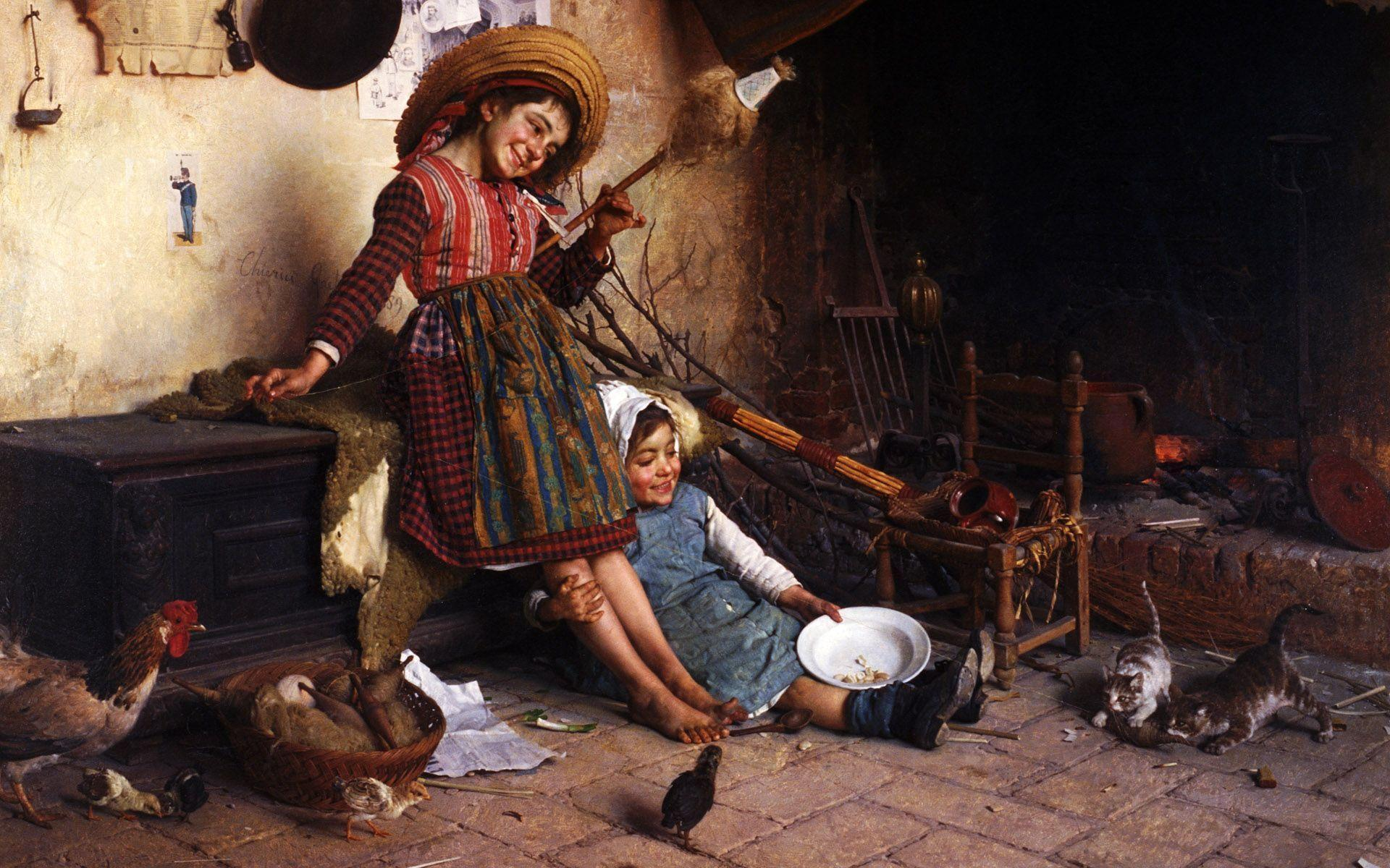 Kids in Kitchen With Pets Famous Paintings Wallpaper, iPhone