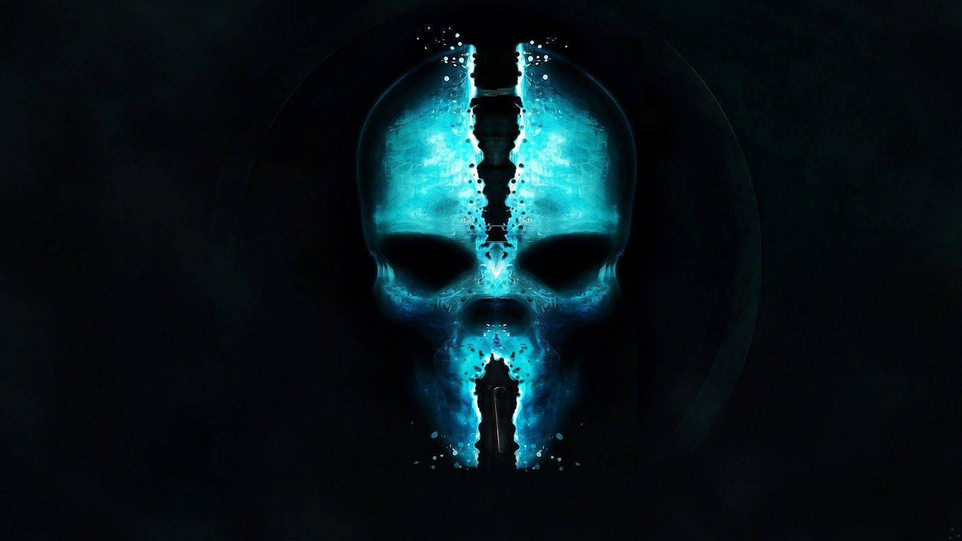 blue wallpaper skull - photo #1