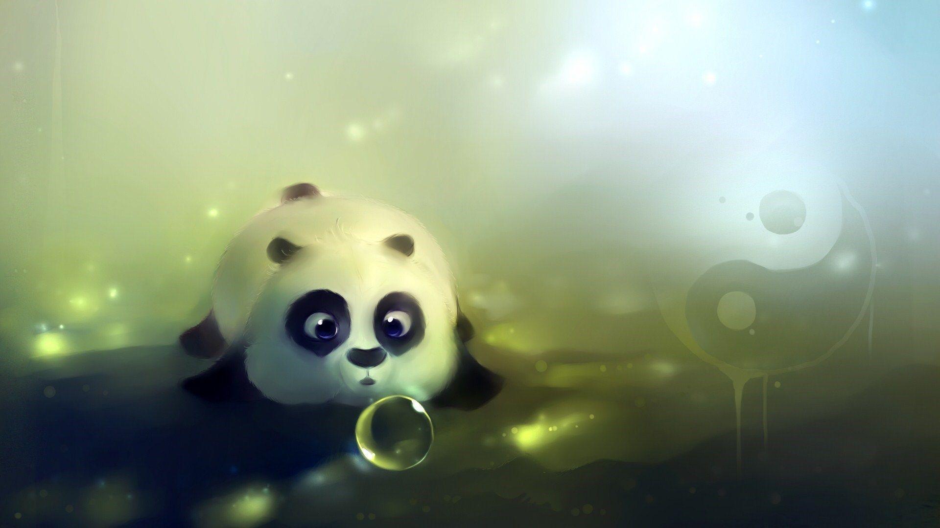 Cute Panda Bear Artwork HD Wallpaper - ZoomWalls
