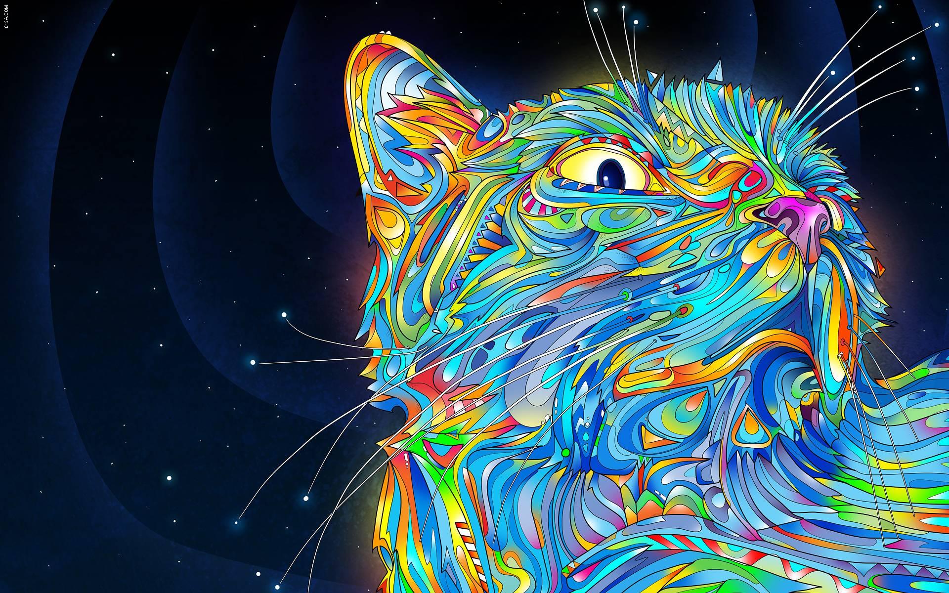 Cats Imagination Acid Trip Hd Wallpaper