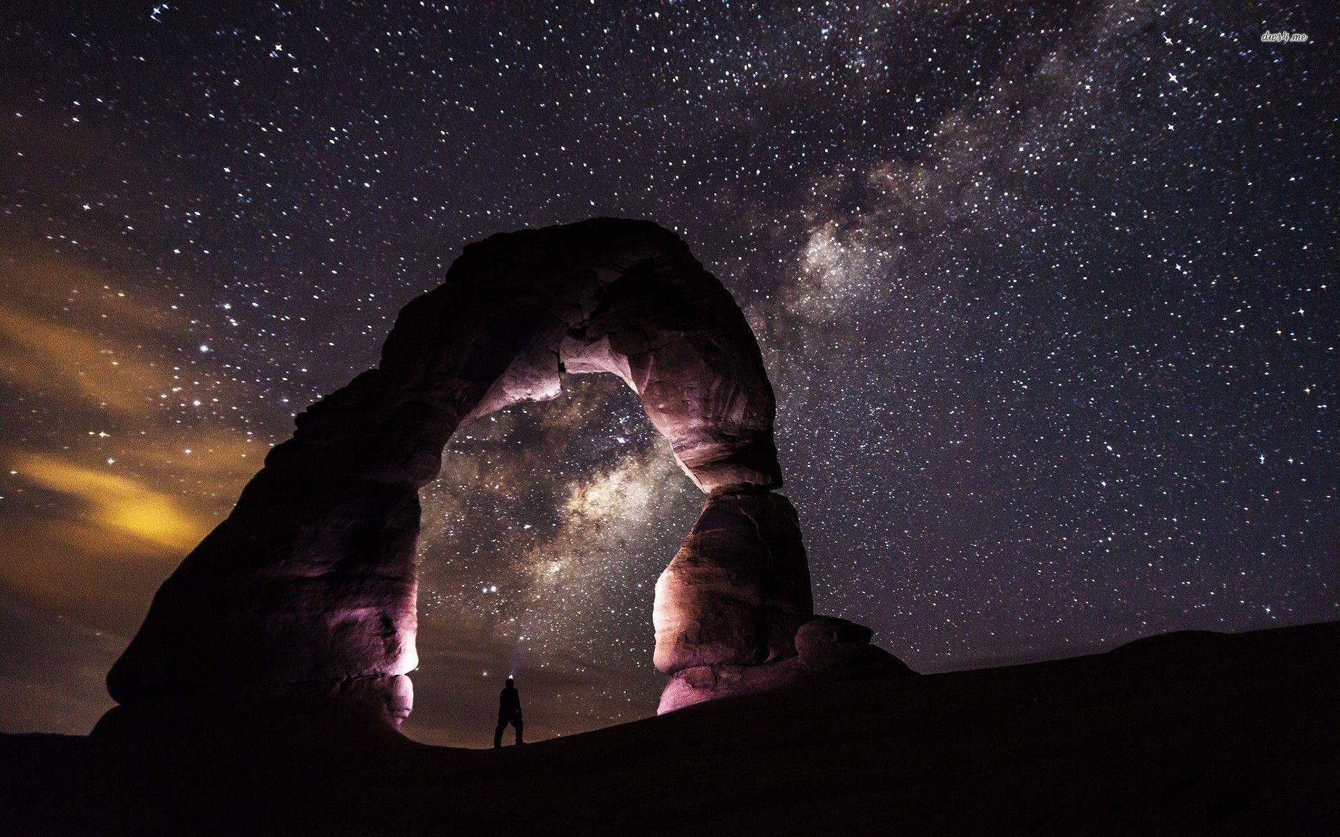 Milky Way above the canyon wallpapers