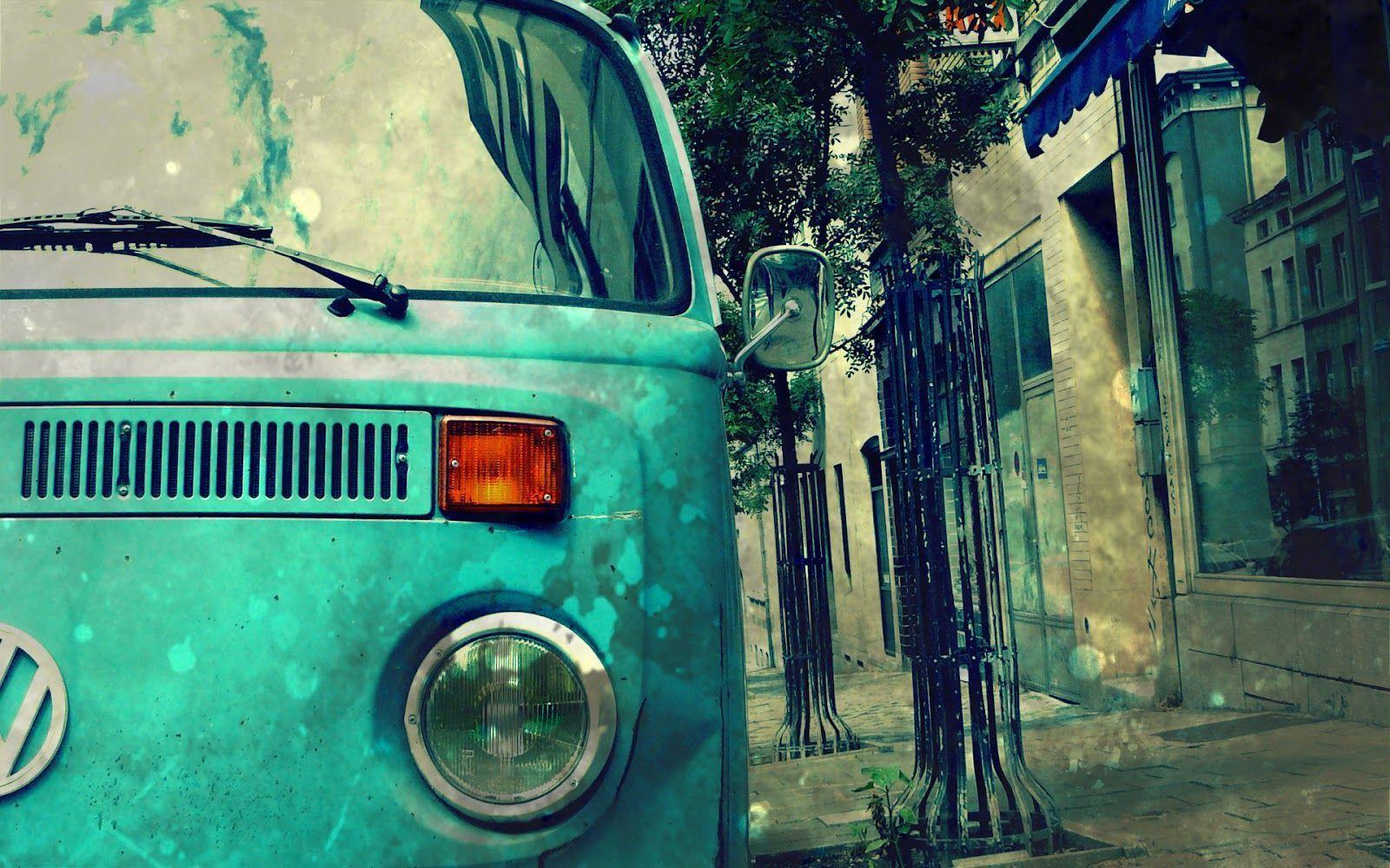 Download Blue Volkswagen Transporter Vintage Car Graphy Wallpapers