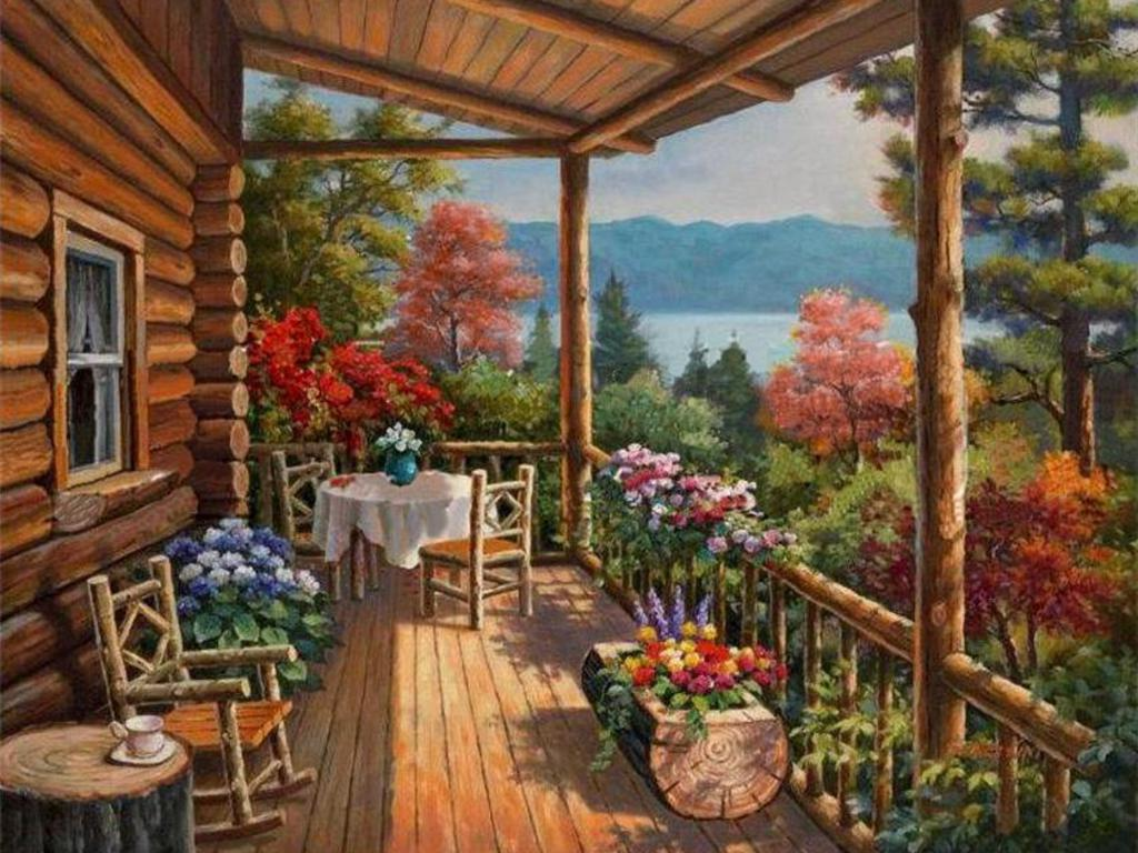 Log cabin in the woods painting - Images For Mountain Log Cabin Wallpaper