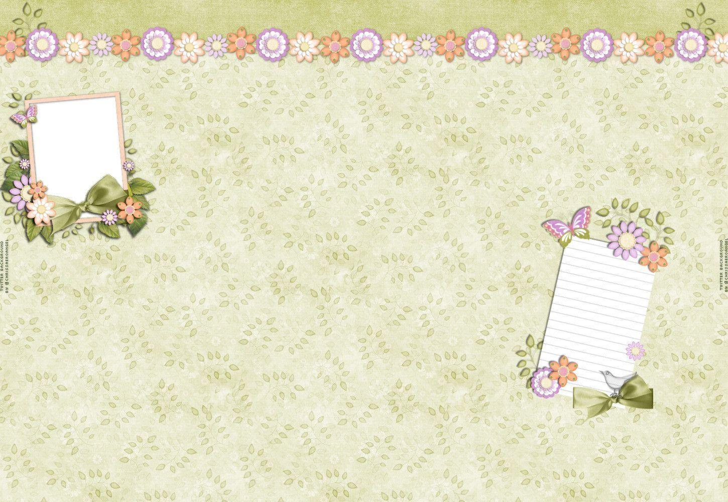 Soft Flowers And Butterflies Twitter Backgrounds, Soft Flowers And ...