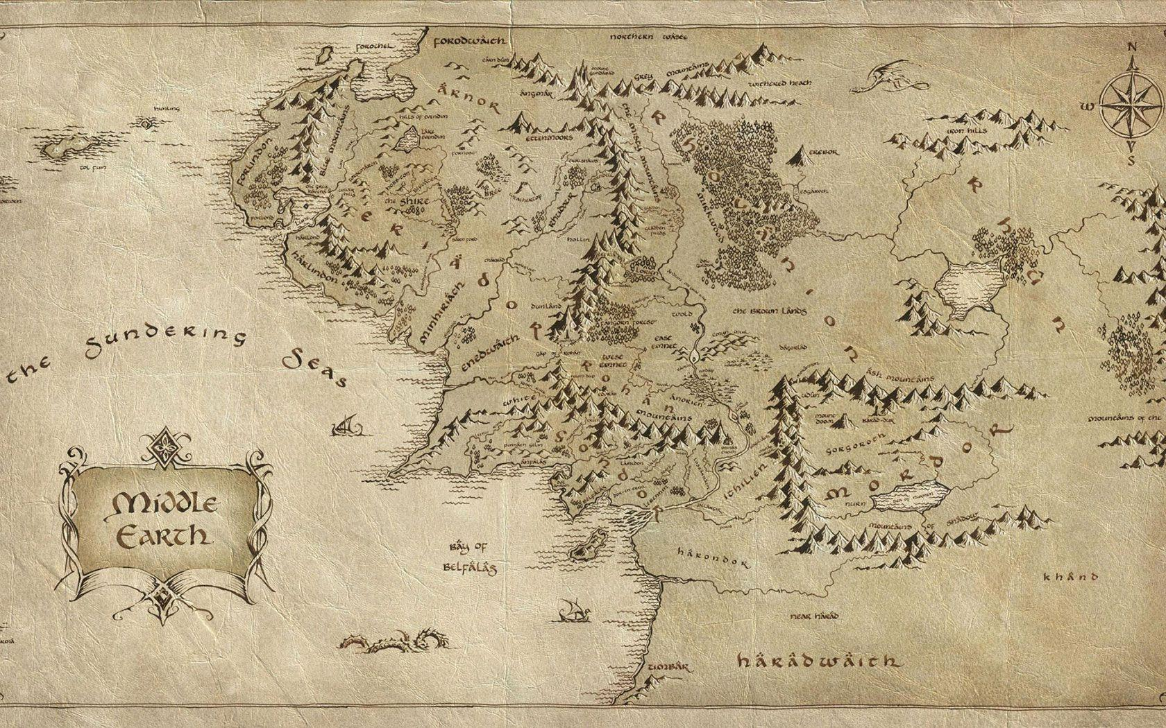 Lord of The Rings Map - HD Desktop Wallpaper | HD Wallpapers Source