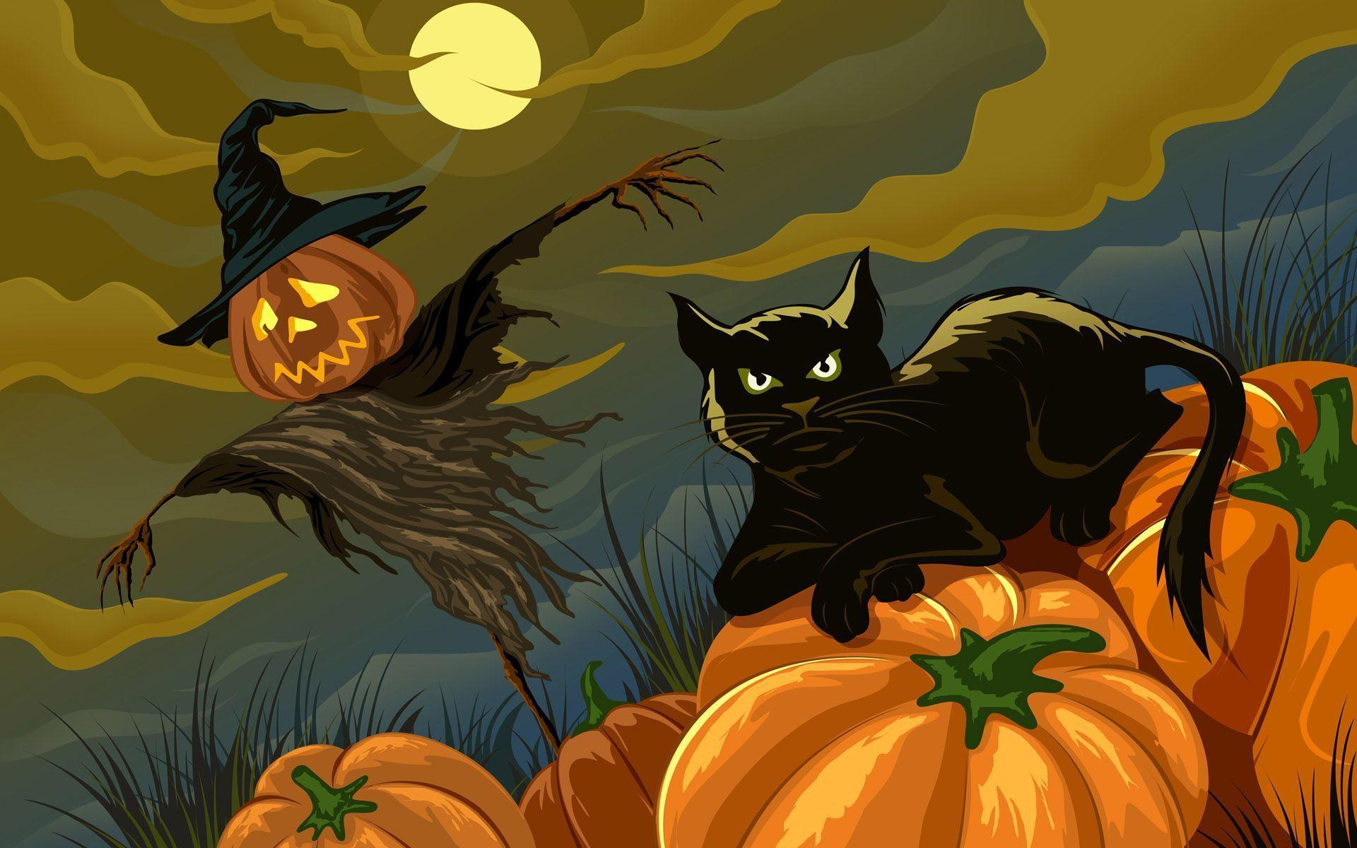 34 Halloween illustration Wallpaper - Black cat & Jack-o-lanterns ...