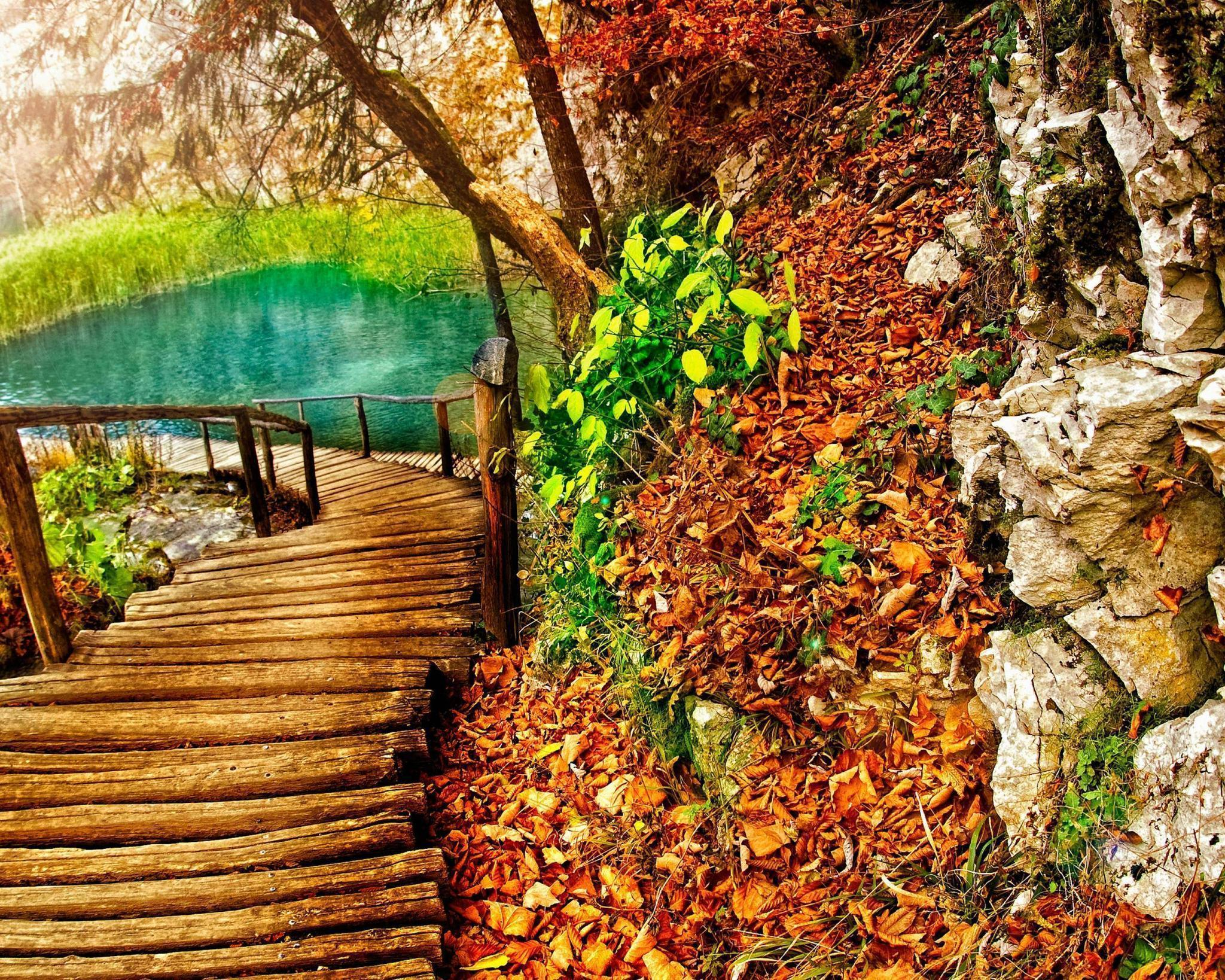 fall autumn backgrounds hd lake nature background wallpapers trail wallpapercave