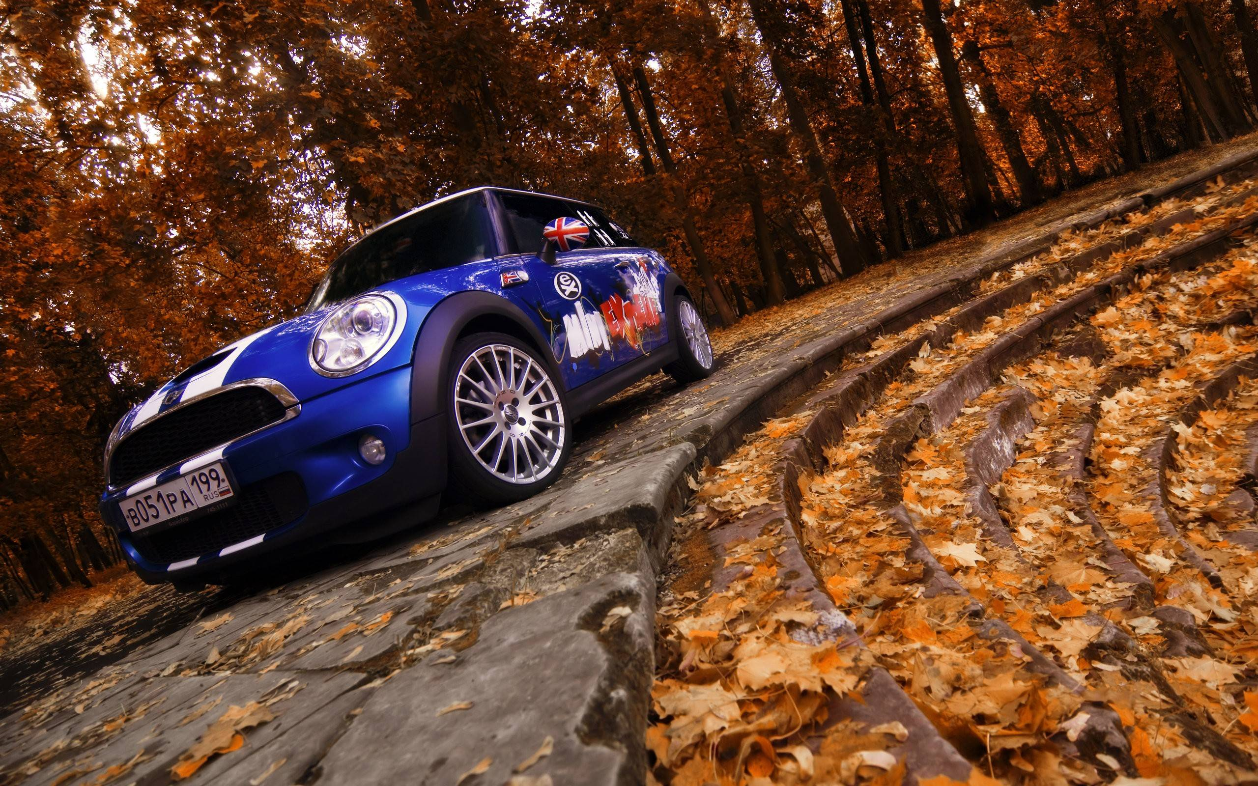 Mini Cooper in Fall Exclusive HD Wallpapers