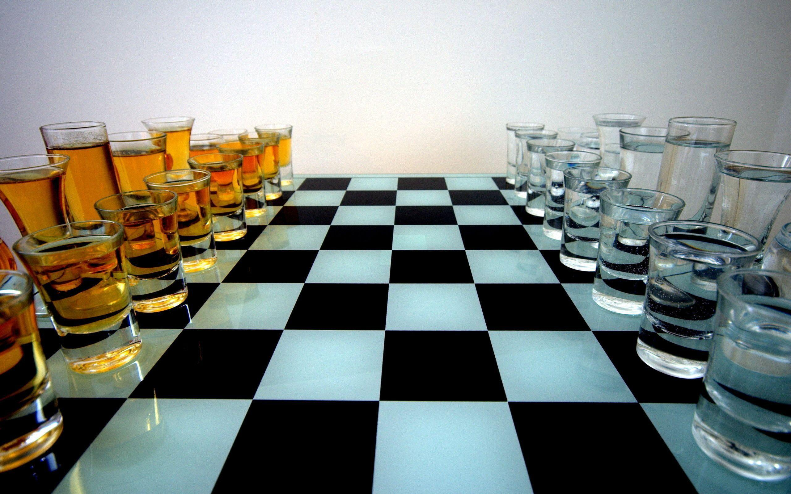 Chess Chessboard Stemware Black And White Wallpapers