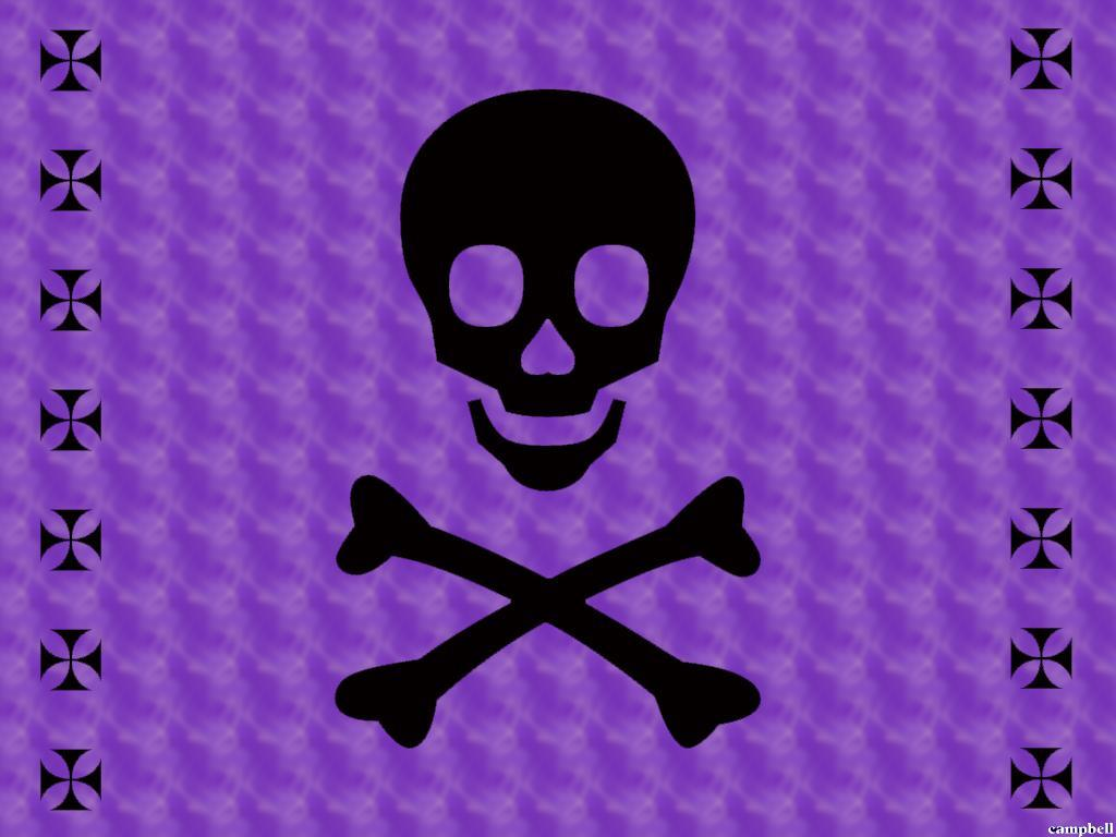 Black Skull with a purple backround : Desktop and mobile wallpapers