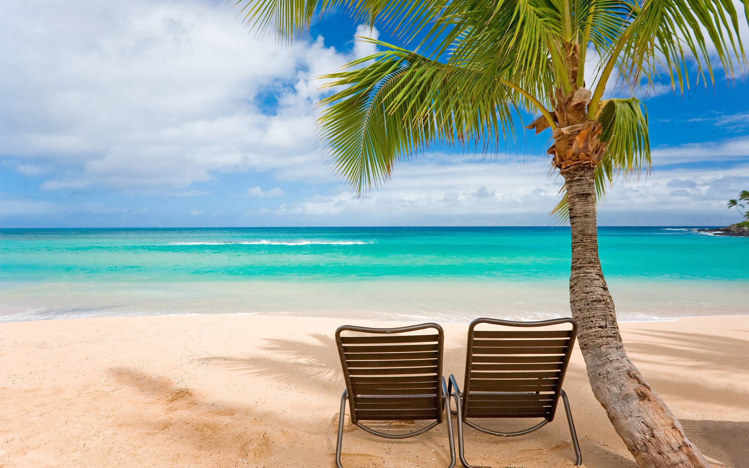 2 beach chairs on the beach - Tropical Beach Chair Wallpapers Pictures