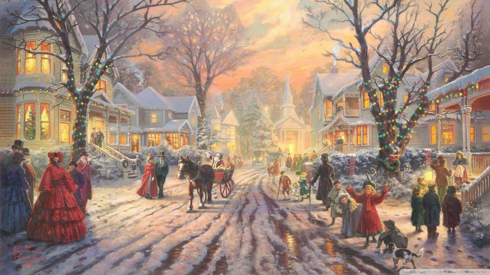 Download Victorian Christmas Carol By Thomas Kinkade Wallpapers