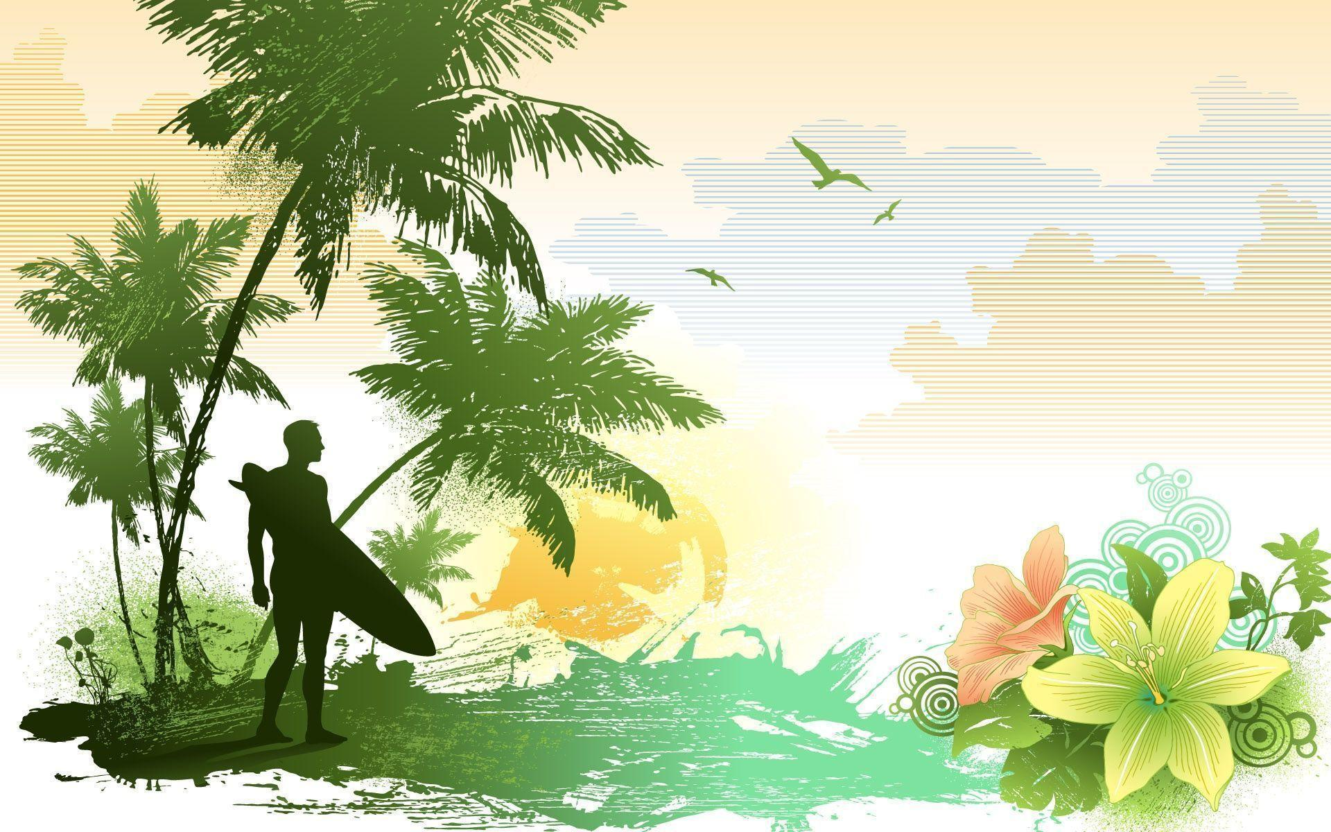 Hawaiian Island Vector Design Wallpaper and Stock Photo