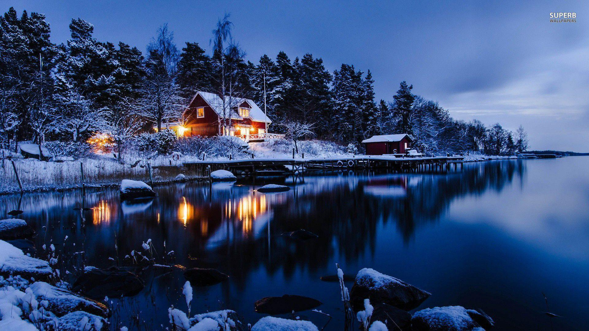 Winter cabin wallpapers wallpaper cave for Lakeview cabin download
