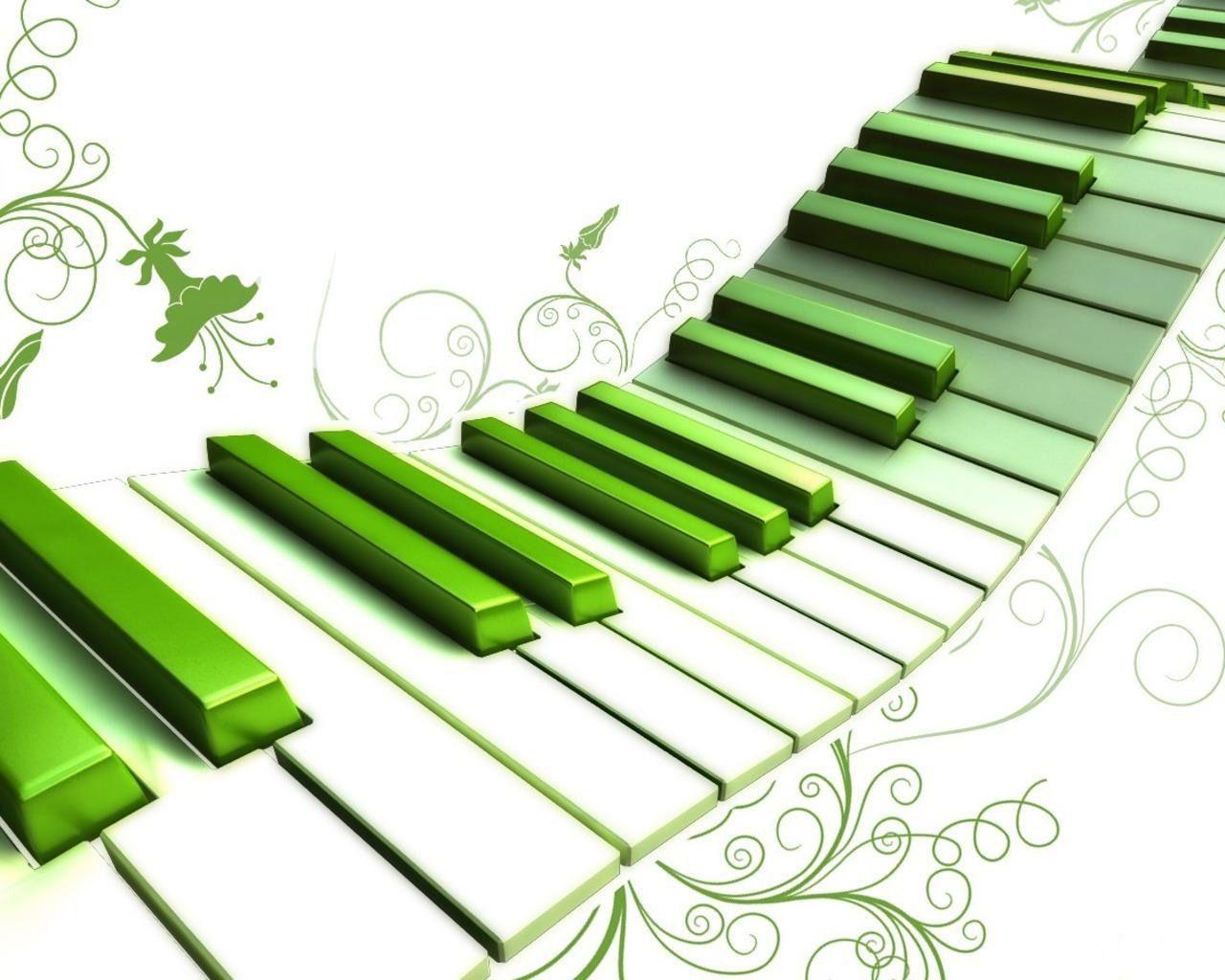 green piano wallpaper