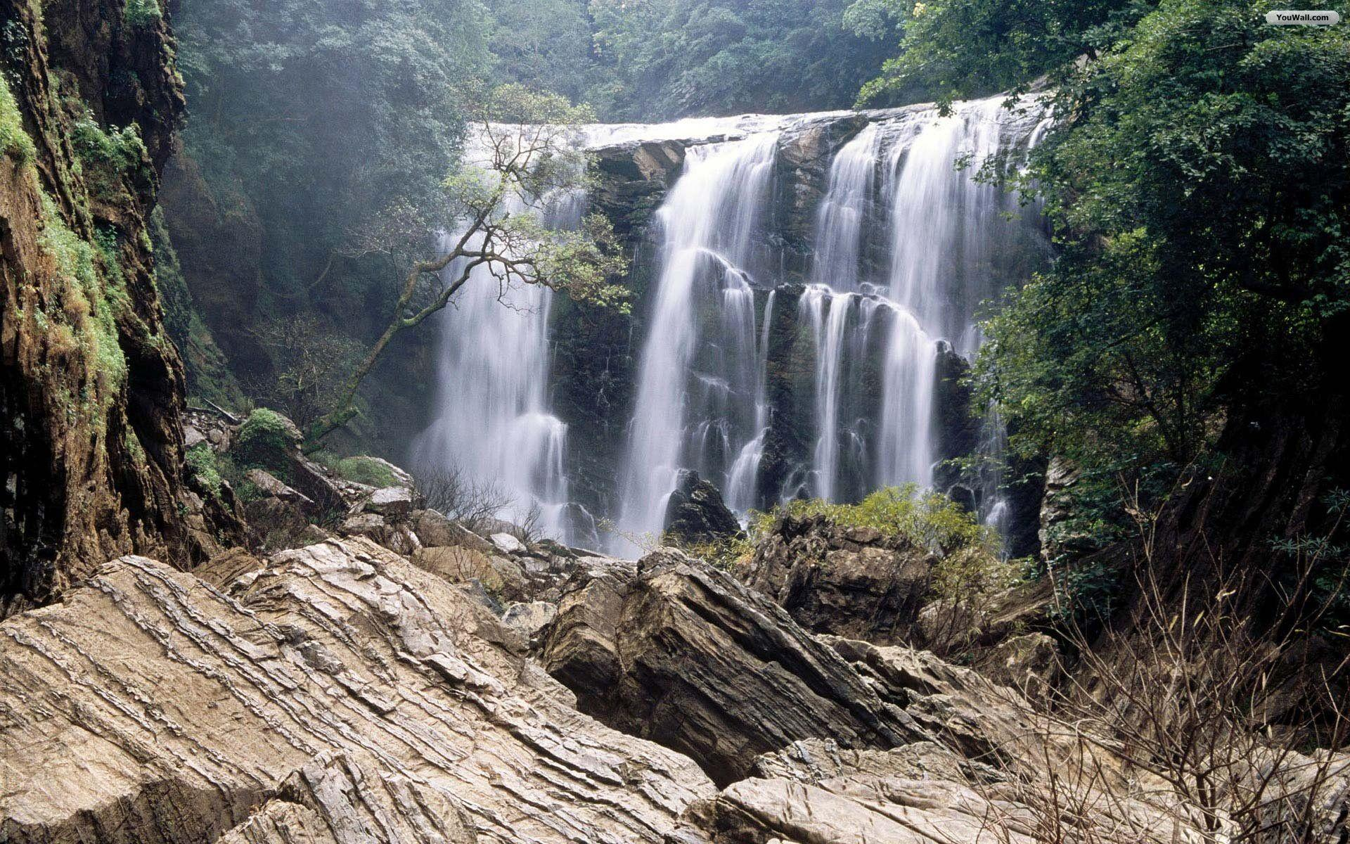 Forest waterfall wallpapers wallpaper cave - Waterfalls desktop wallpaper forest falls ...